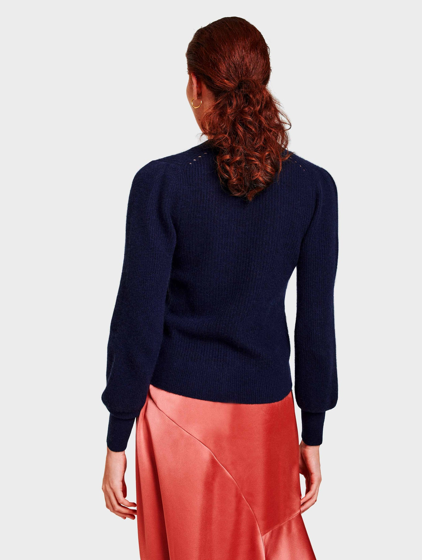 Cashmere Exaggerated Puff Sleeve Cardigan - Deep Navy - Image 3