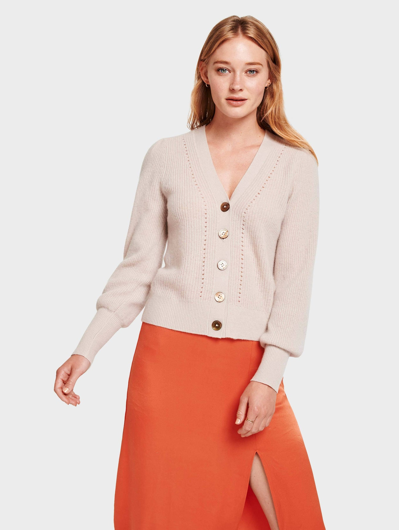 Cashmere Exaggerated Puff Sleeve Cardigan - Sandstone Heather - Image 3