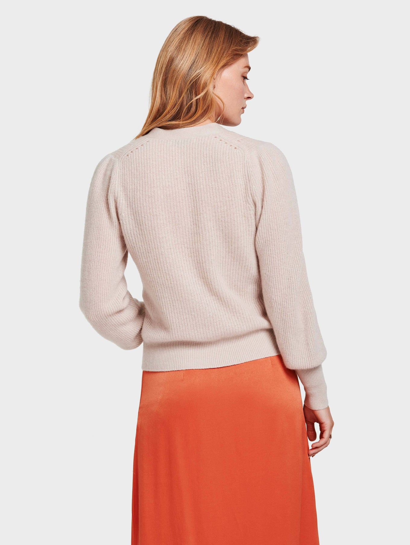 Cashmere Exaggerated Puff Sleeve Cardigan - Sandstone Heather - Image 4