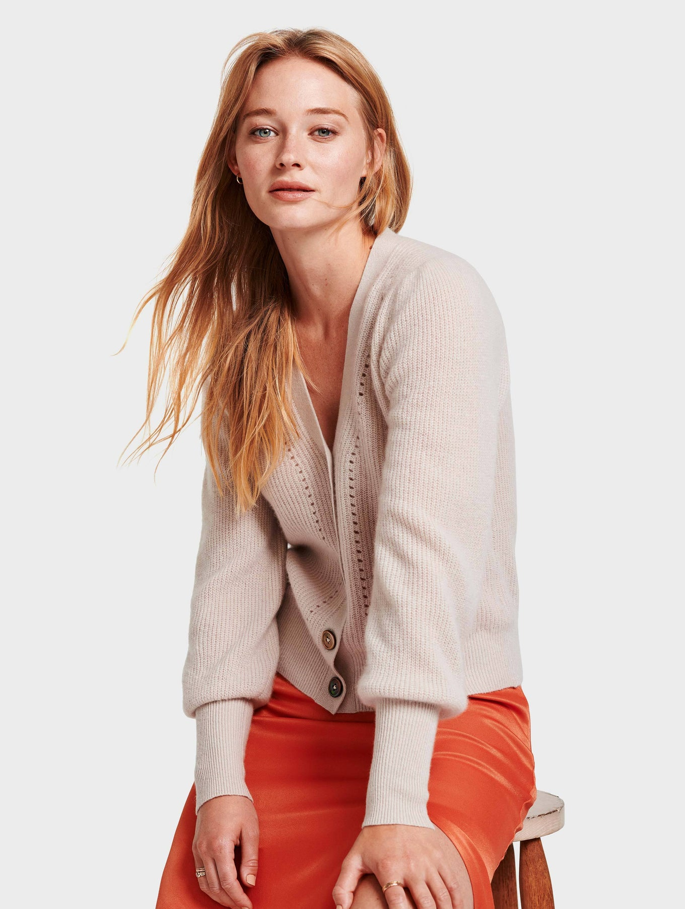 Cashmere Exaggerated Puff Sleeve Cardigan - Sandstone Heather - Image 5