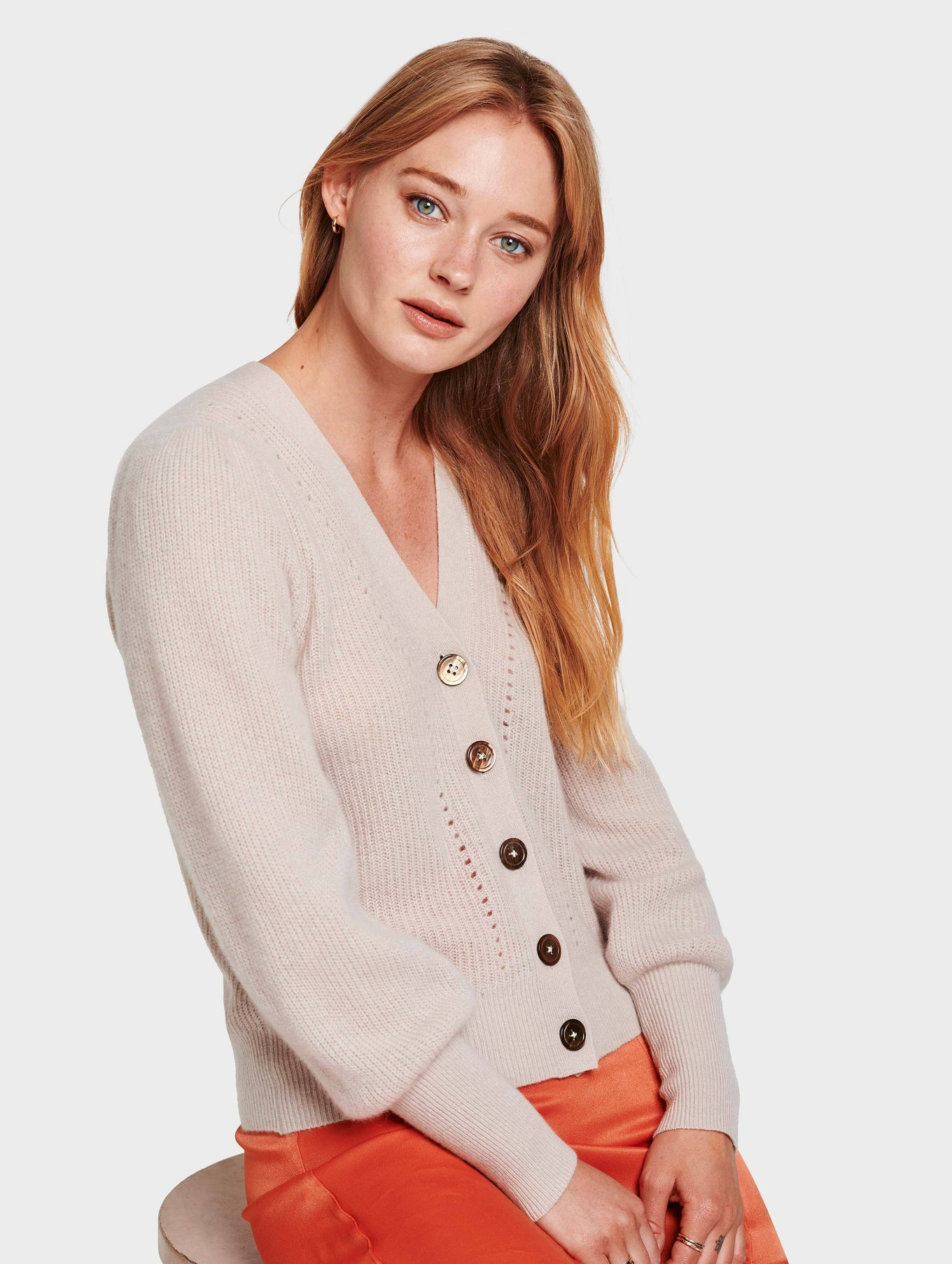 Cashmere Exaggerated Puff Sleeve Cardigan - Sandstone Heather - Image 1