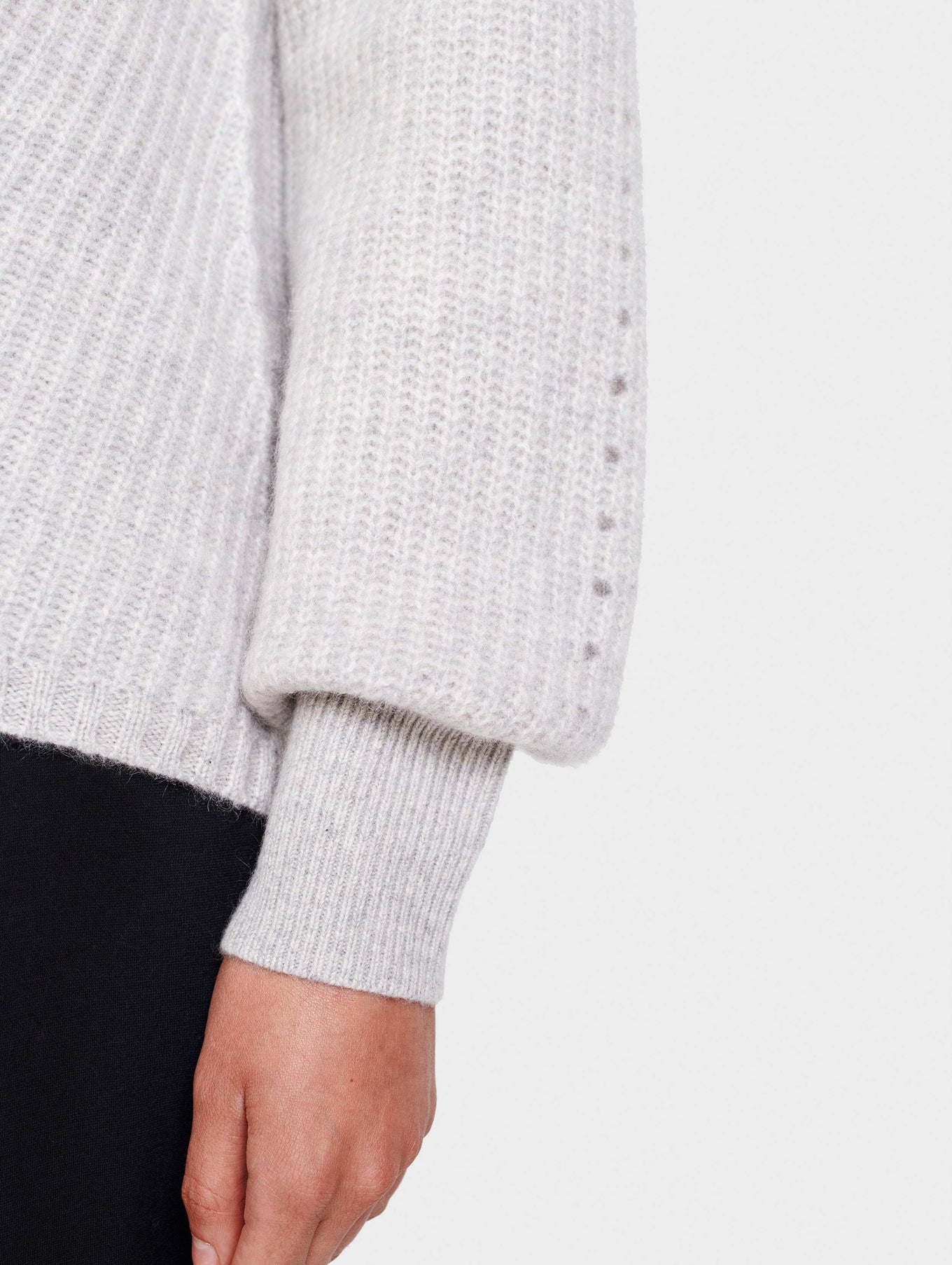Cashmere Puff Sleeve V Neck