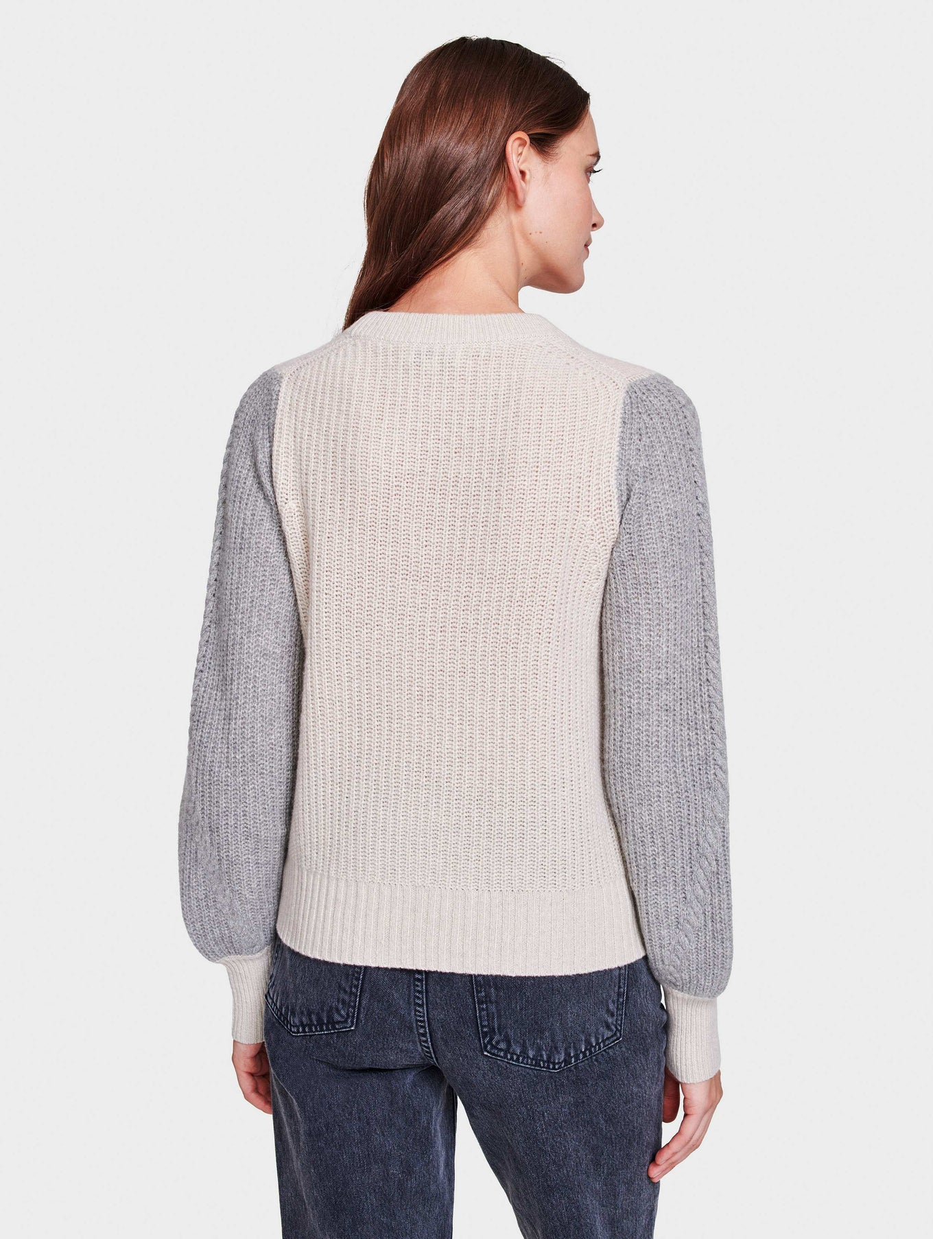 Recycled Cashmere Cable Sleeve Crewneck