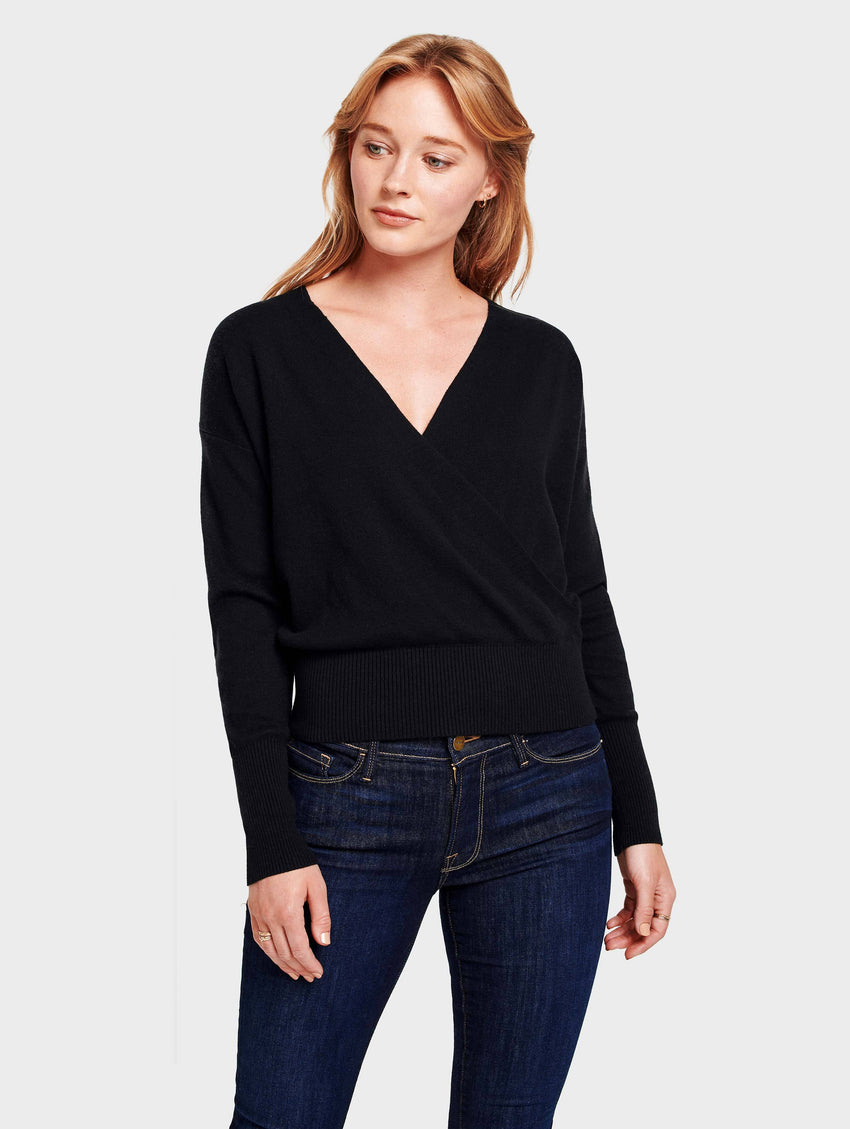 Faux Wrap Pullover - Black - Image 1