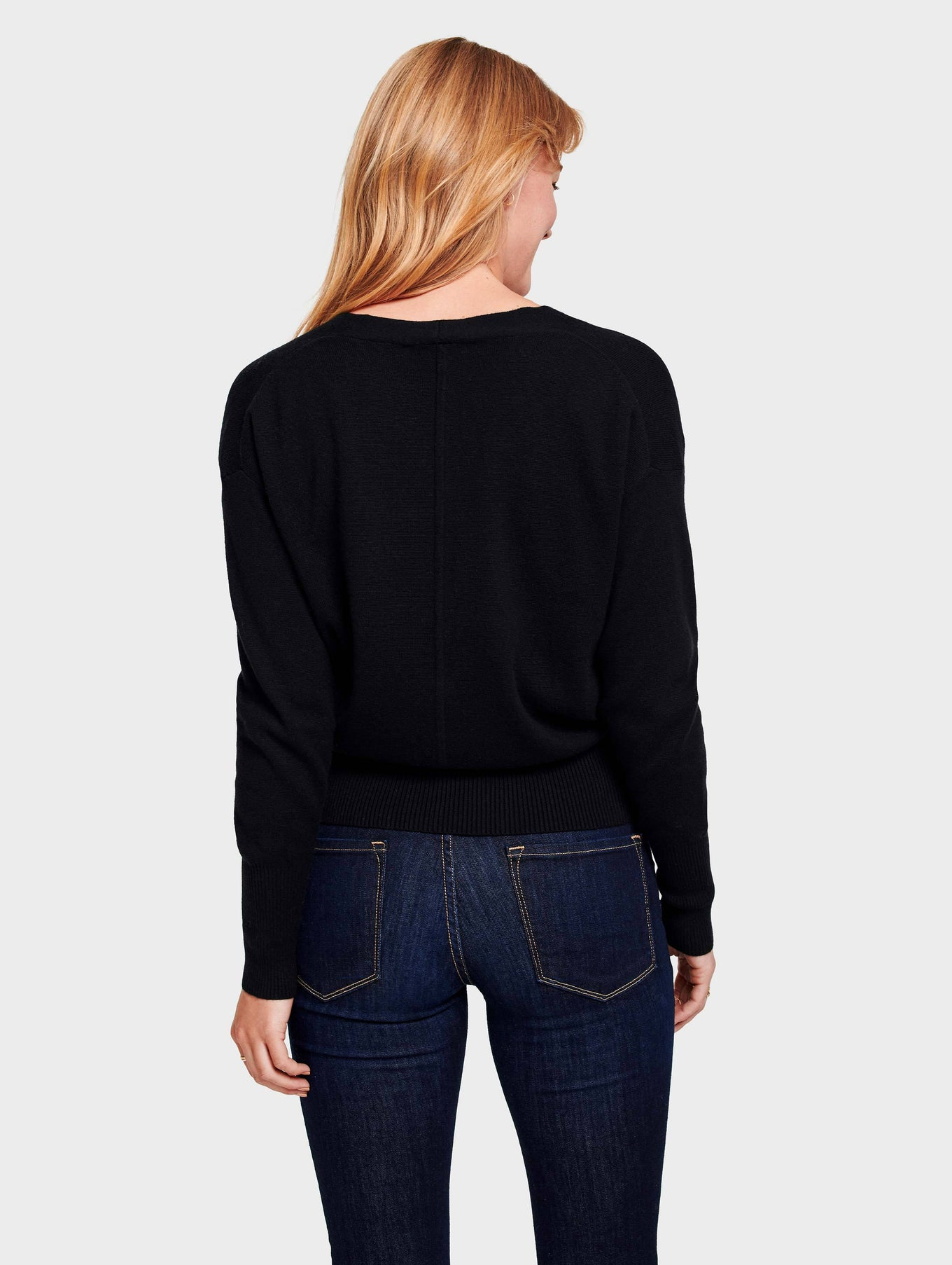 Faux Wrap Pullover - Black - Image 3