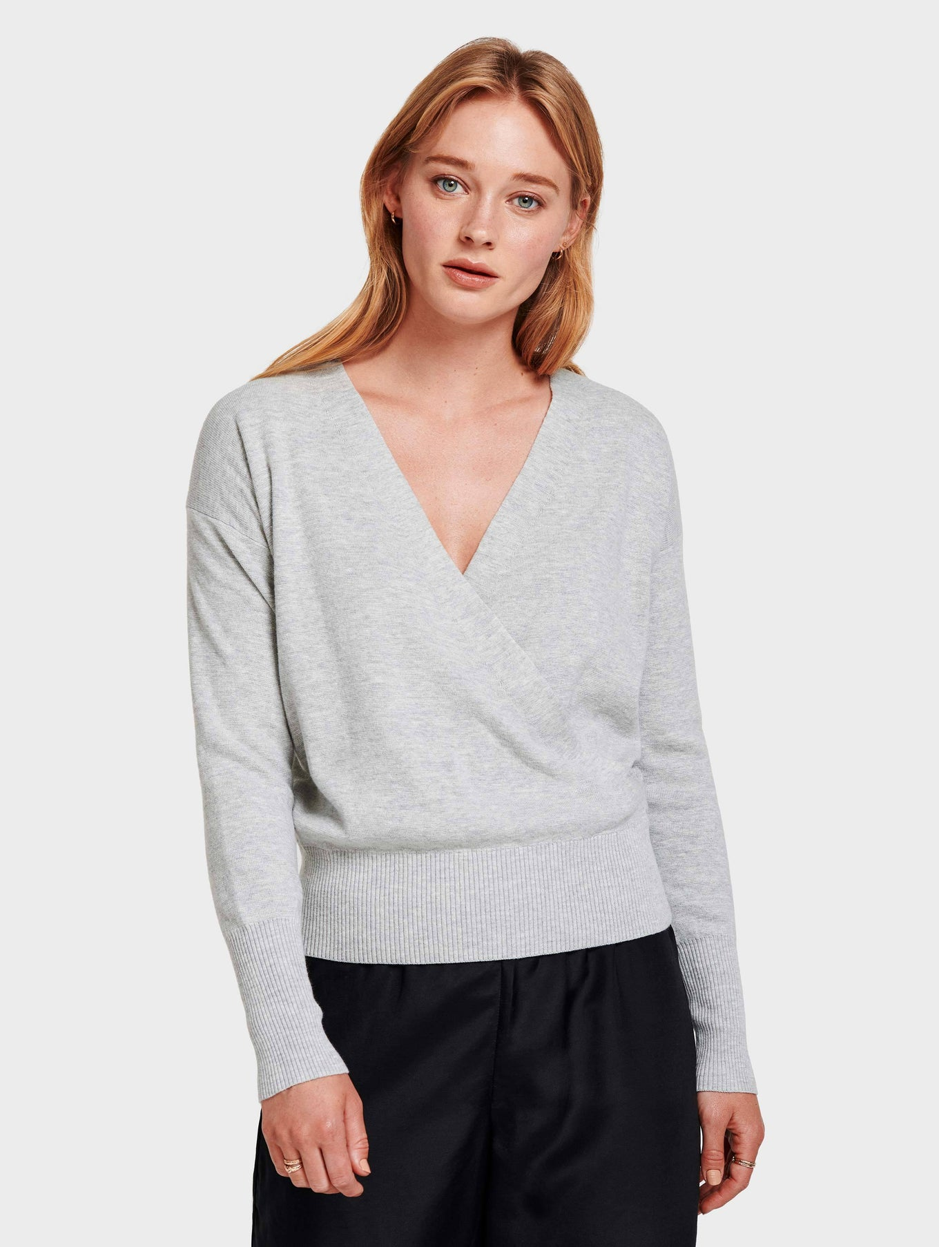 Faux Wrap Pullover - Chromium Heather - Image 1