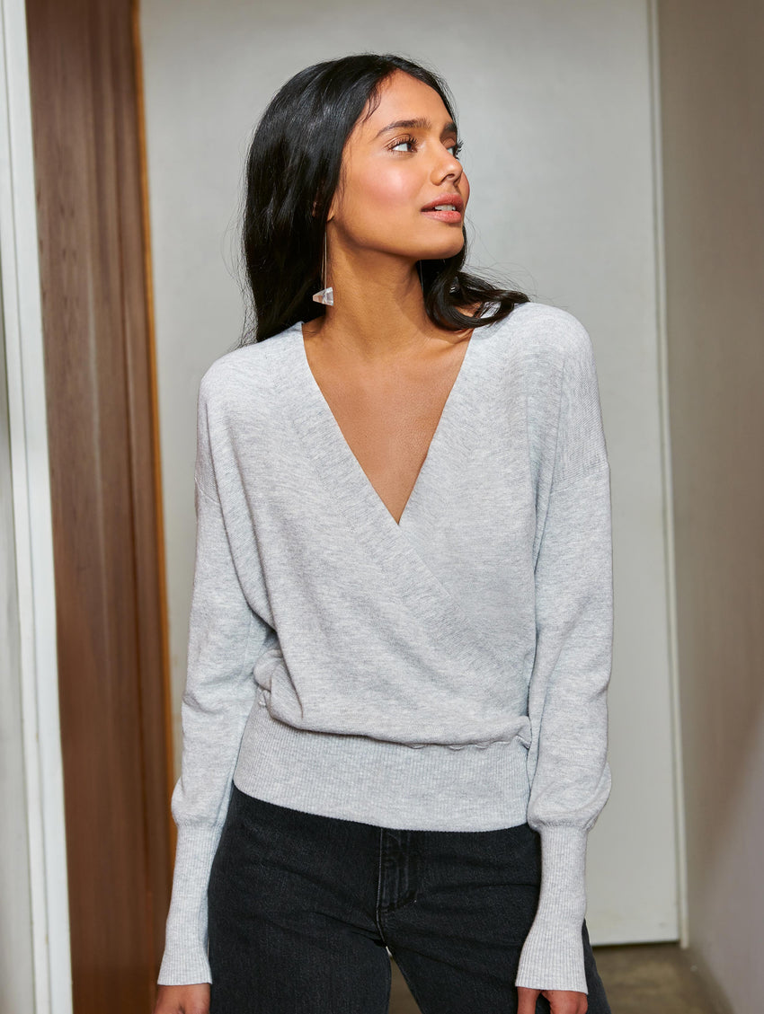Faux Wrap Pullover - Chromium Heather - Image 2