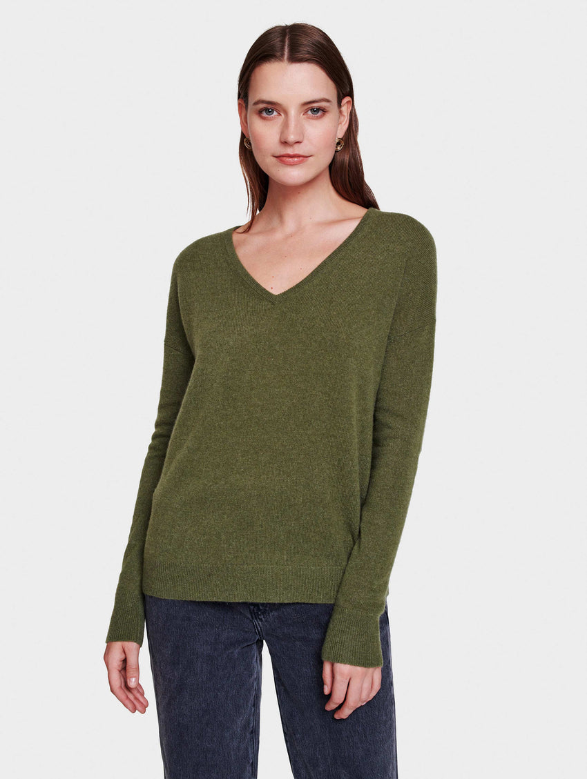Essential Cashmere V Neck - Olive Heather - Image 1