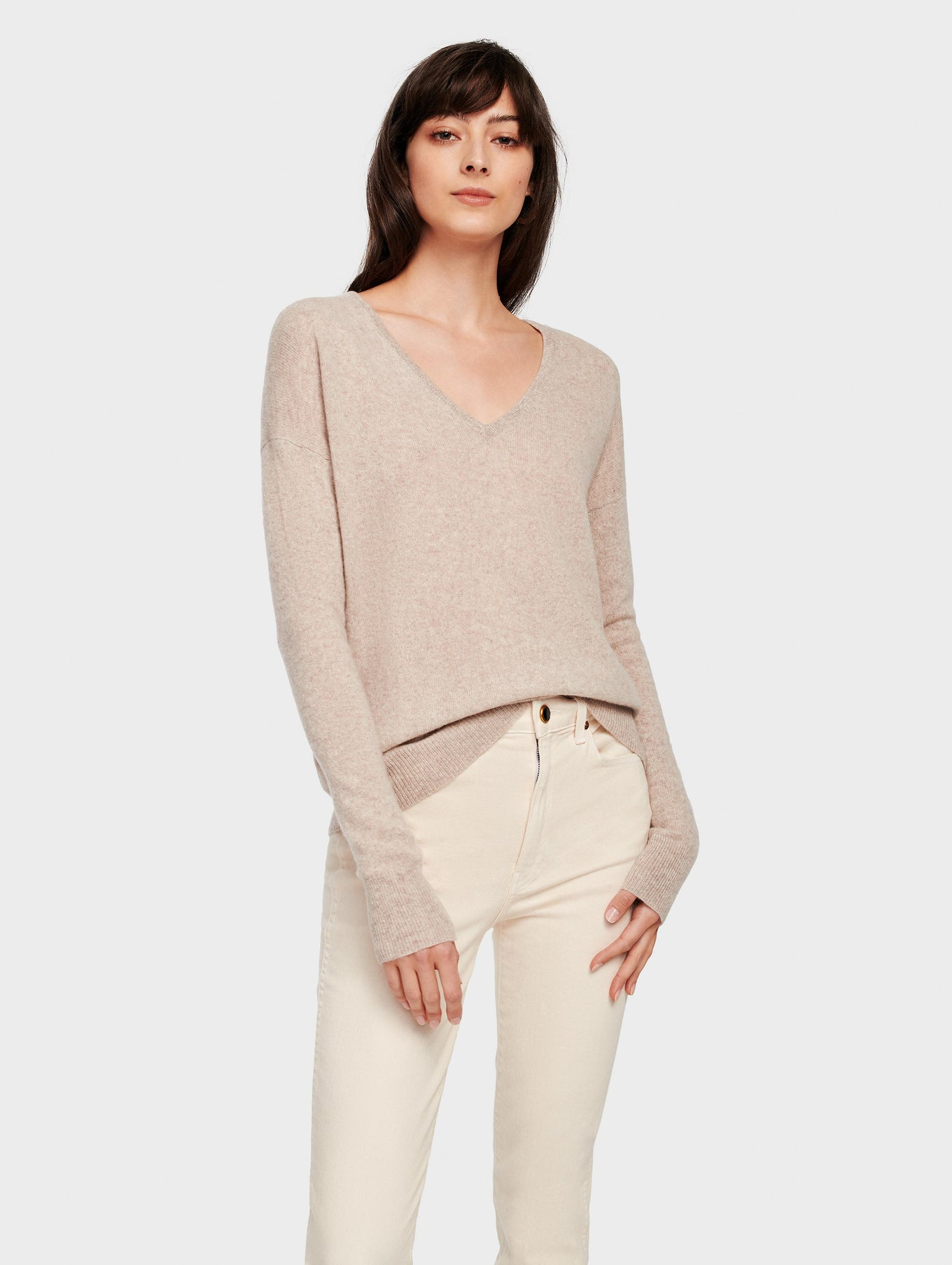 Essential Cashmere V Neck - Sand Wisp Heather - Image 1
