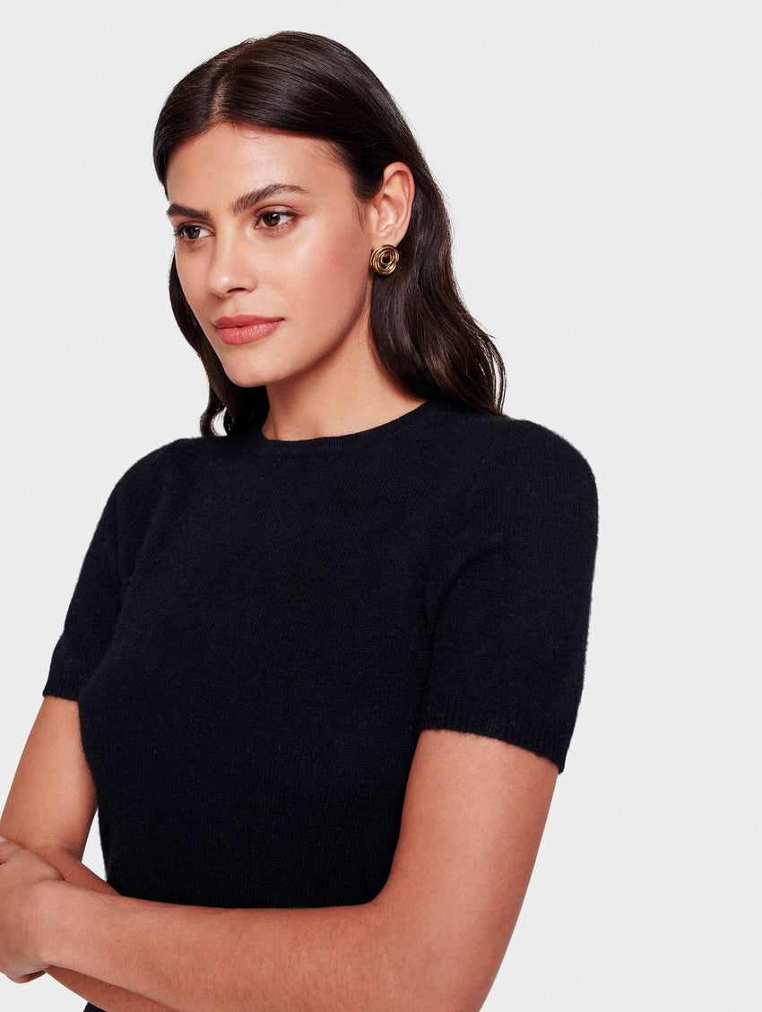 Cashmere Fitted Tee - Black - Image 1
