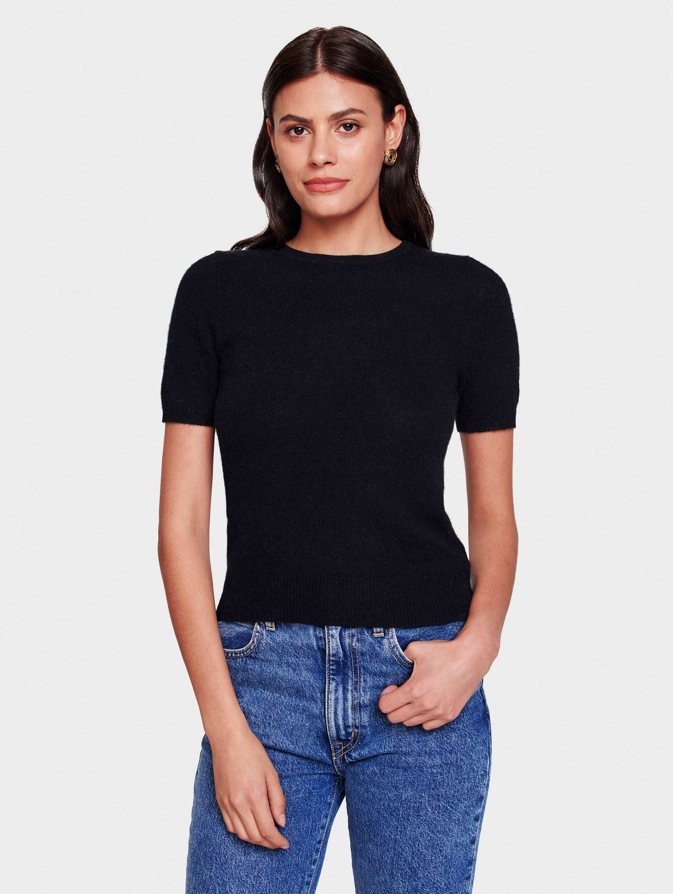 Cashmere Fitted Tee - Black - Image 2