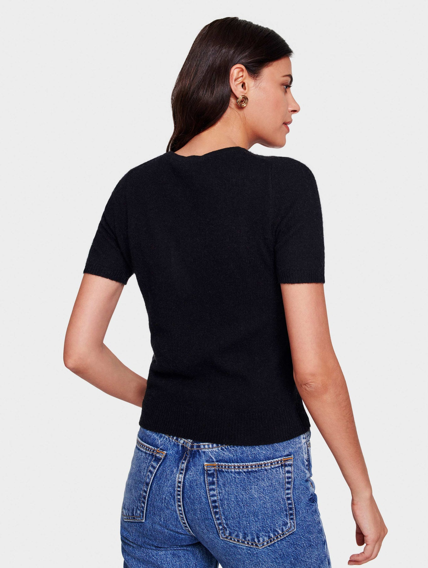 Cashmere Fitted Tee - Black - Image 3
