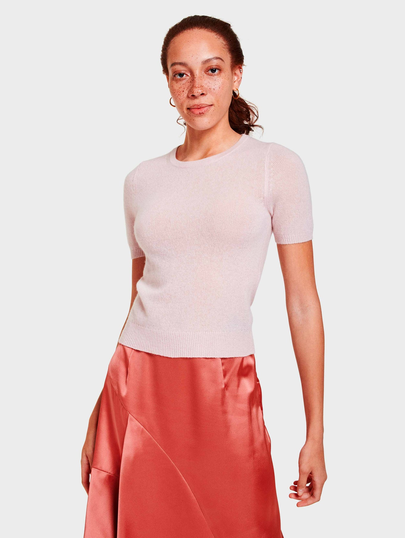 Cashmere Fitted Tee - Blooming Pink Heather - Image 2