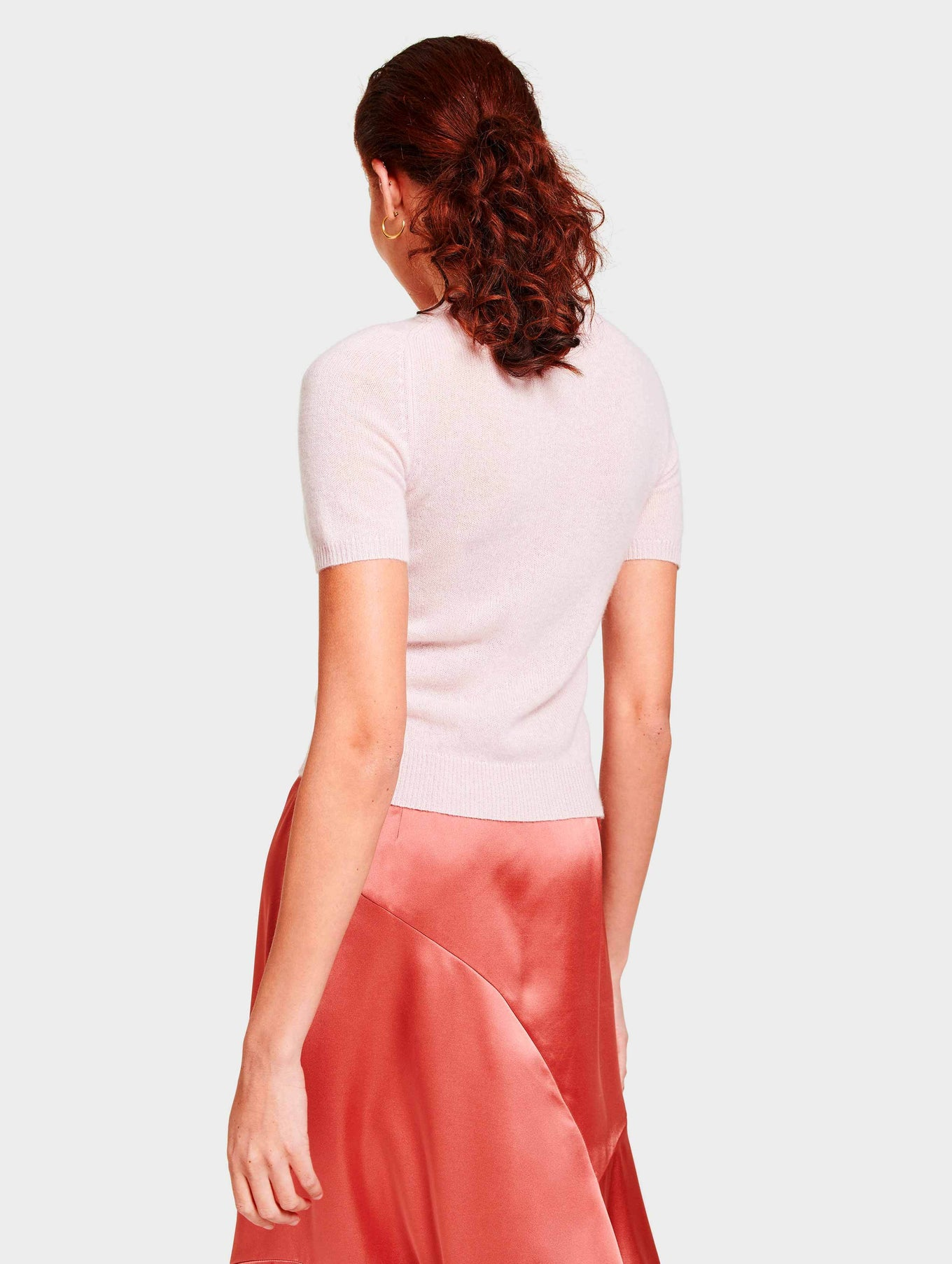 Cashmere Fitted Tee - Blooming Pink Heather - Image 3