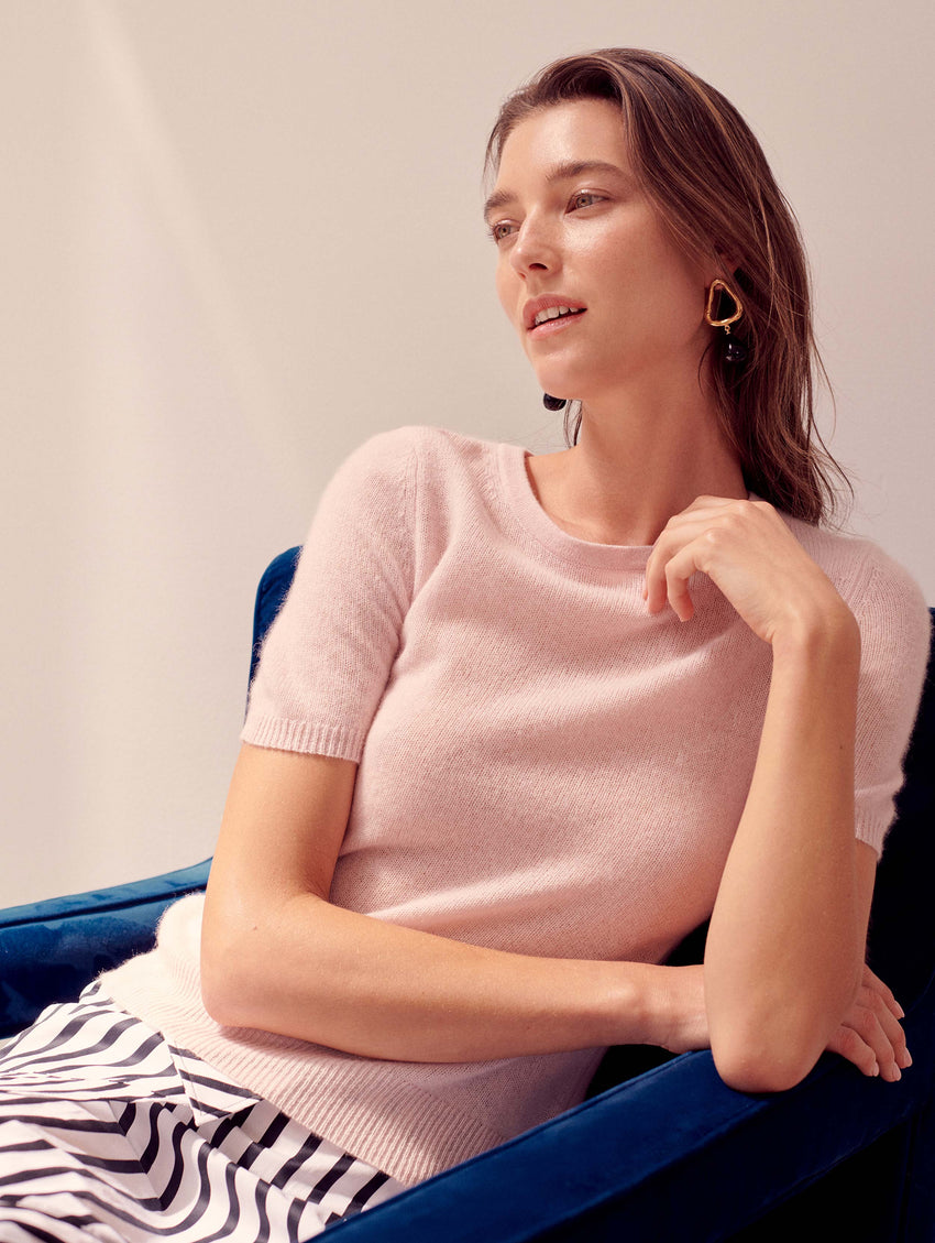 Cashmere Fitted Tee - Blooming Pink Heather - Image 4