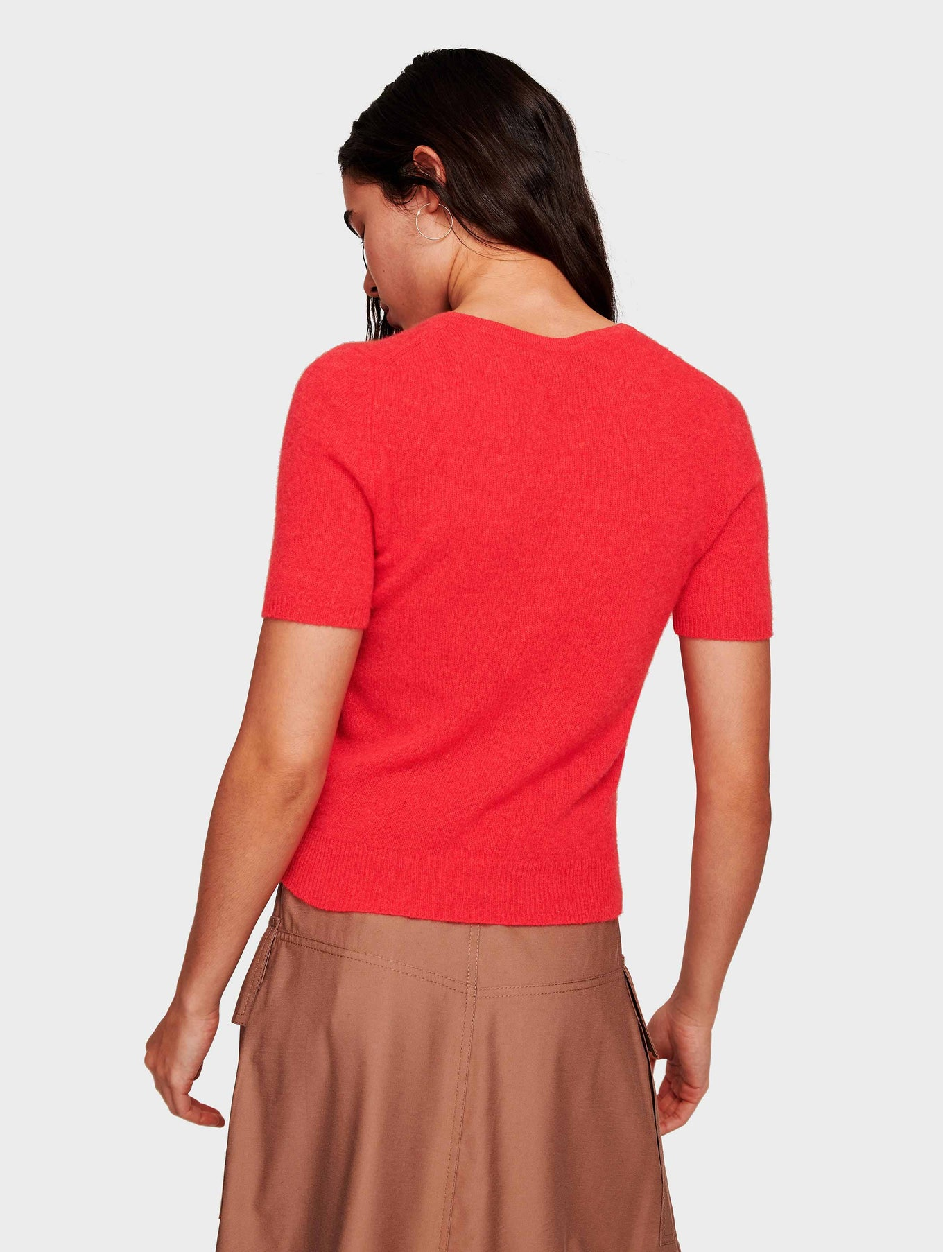 Cashmere Fitted Tee - Bright Poppy Heather - Image 3