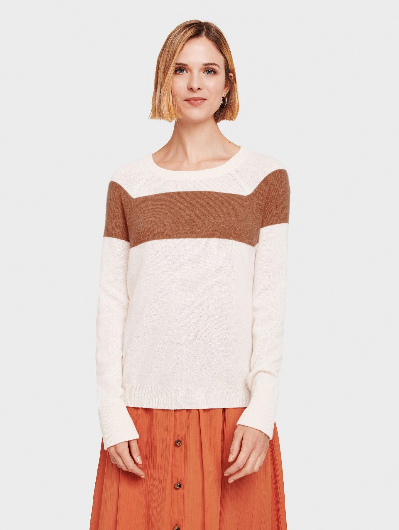 Essential Cashmere Block Stripe Sweatshirt - White/Sandalwood - Image 2