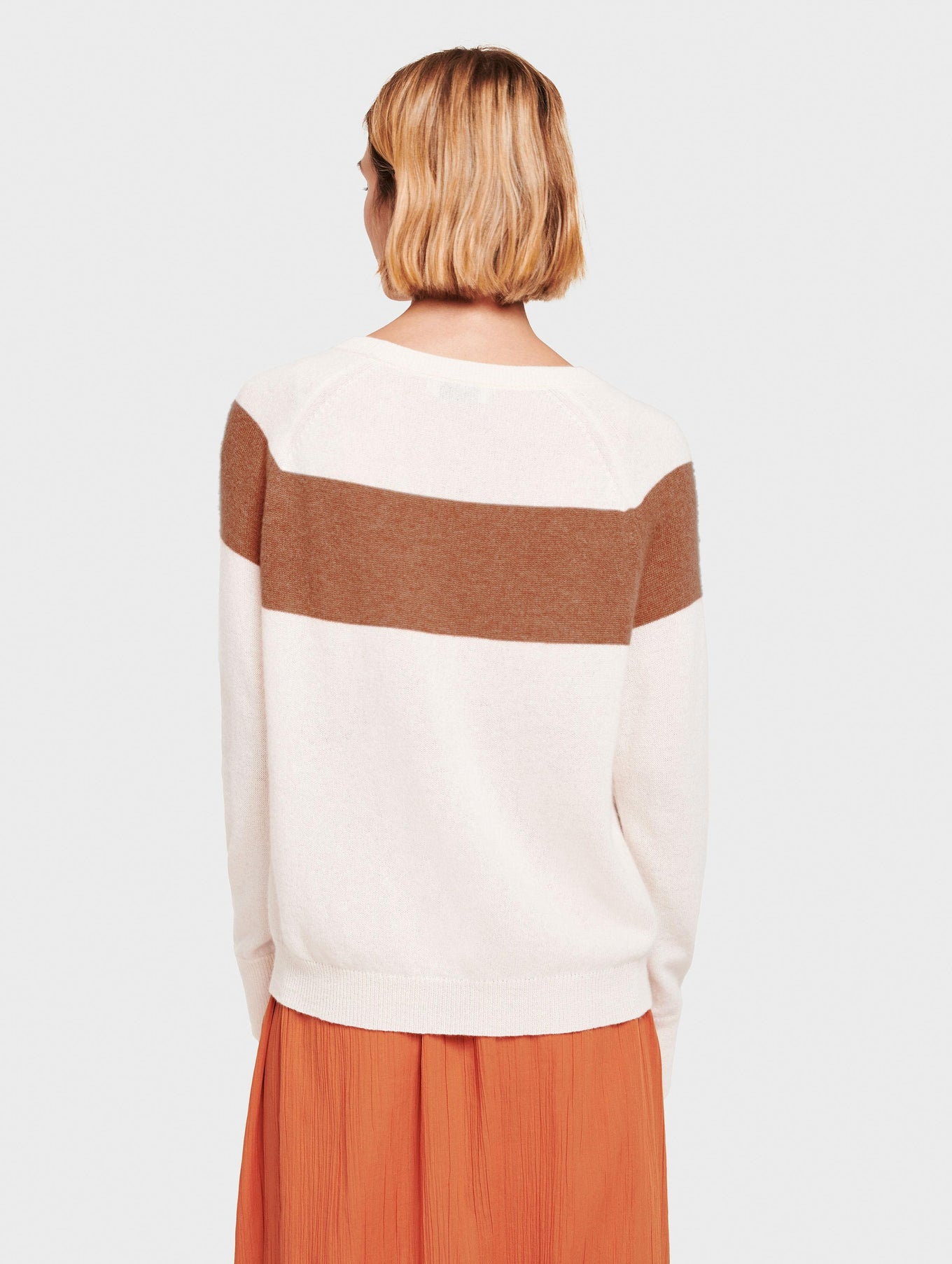 Essential Cashmere Block Stripe Sweatshirt - White/Sandalwood - Image 3