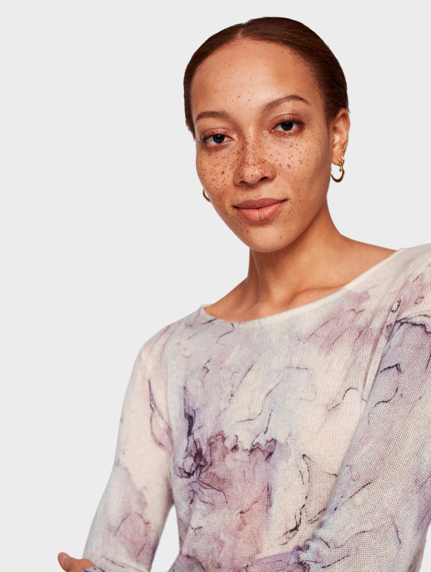 Cashmere Marble Printed Crewneck - Opal Multi - Image 1