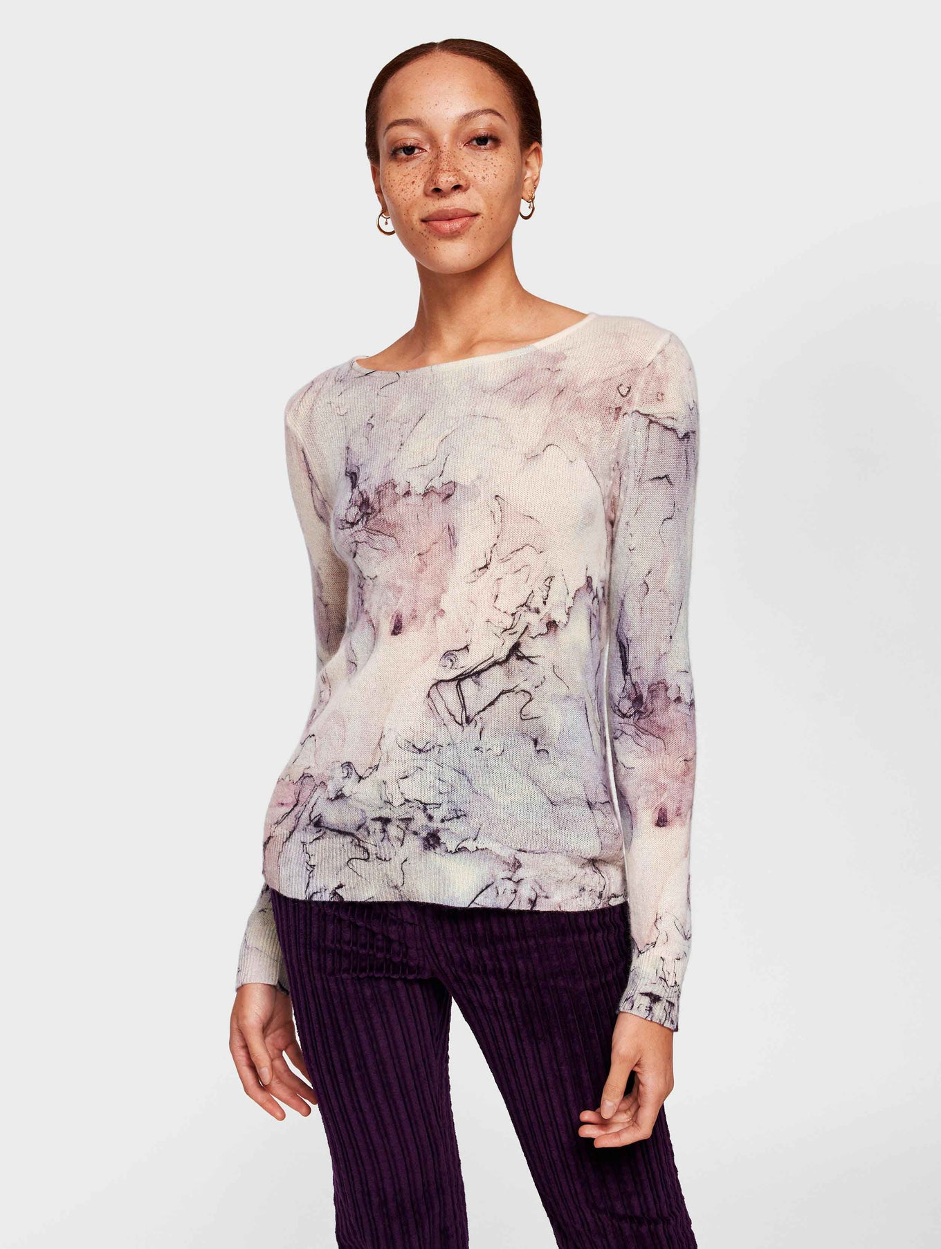 Cashmere Marble Printed Crewneck - Opal Multi - Image 2