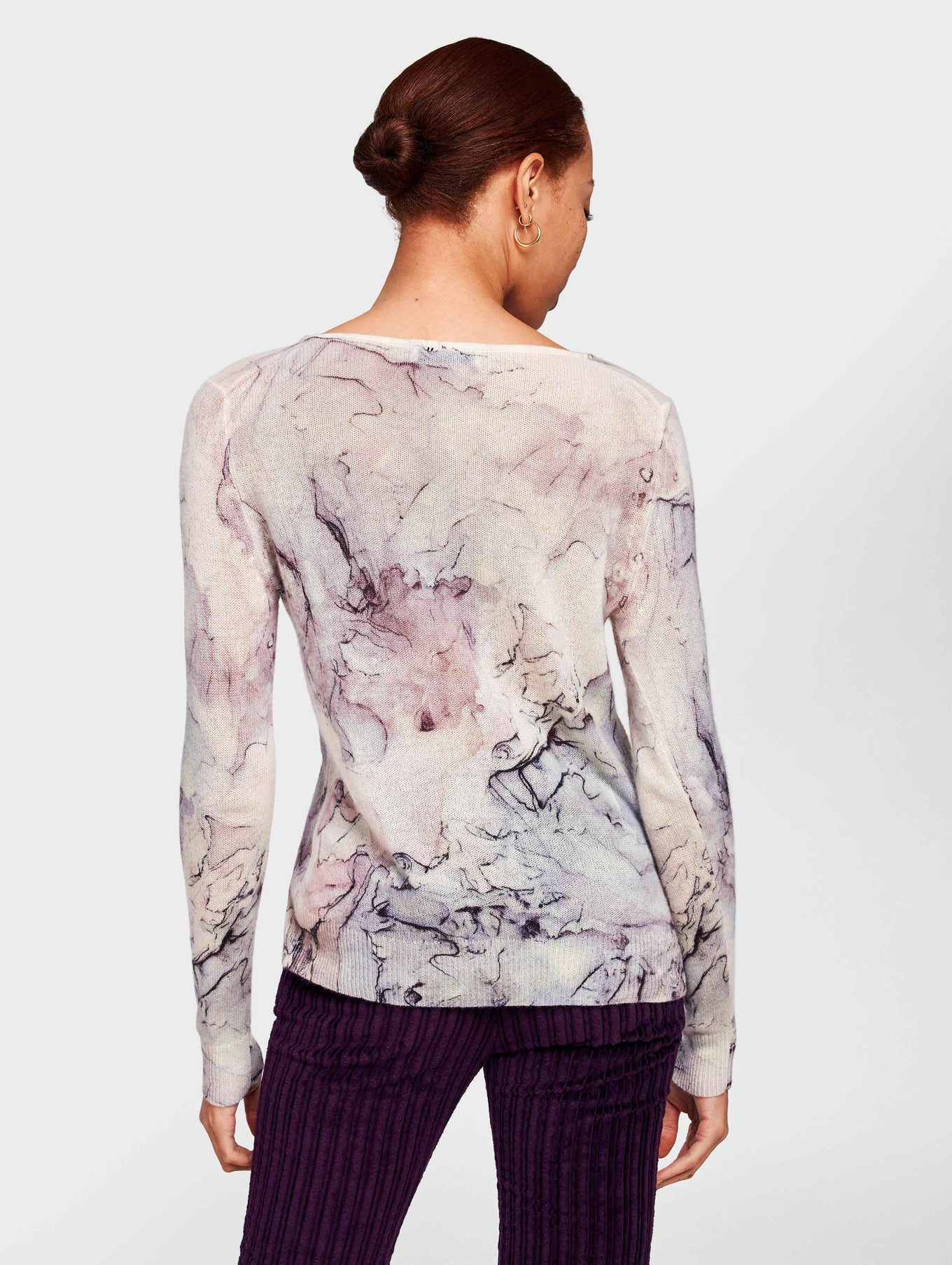 Cashmere Marble Printed Crewneck - Opal Multi - Image 3
