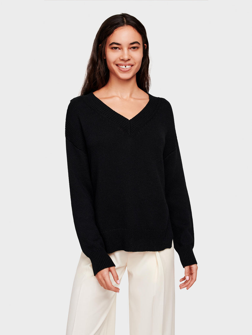 Cotton High-low Deep V Neck - Black - Image 2