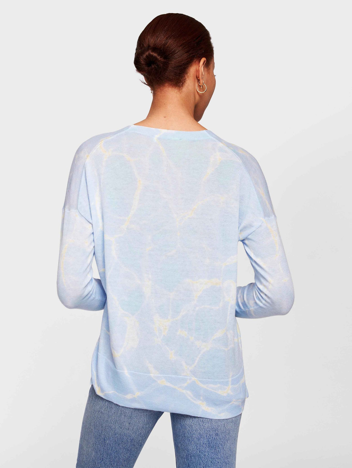 Lightweight Cotton Water Print V Neck - Blue Aquatic - Image 3