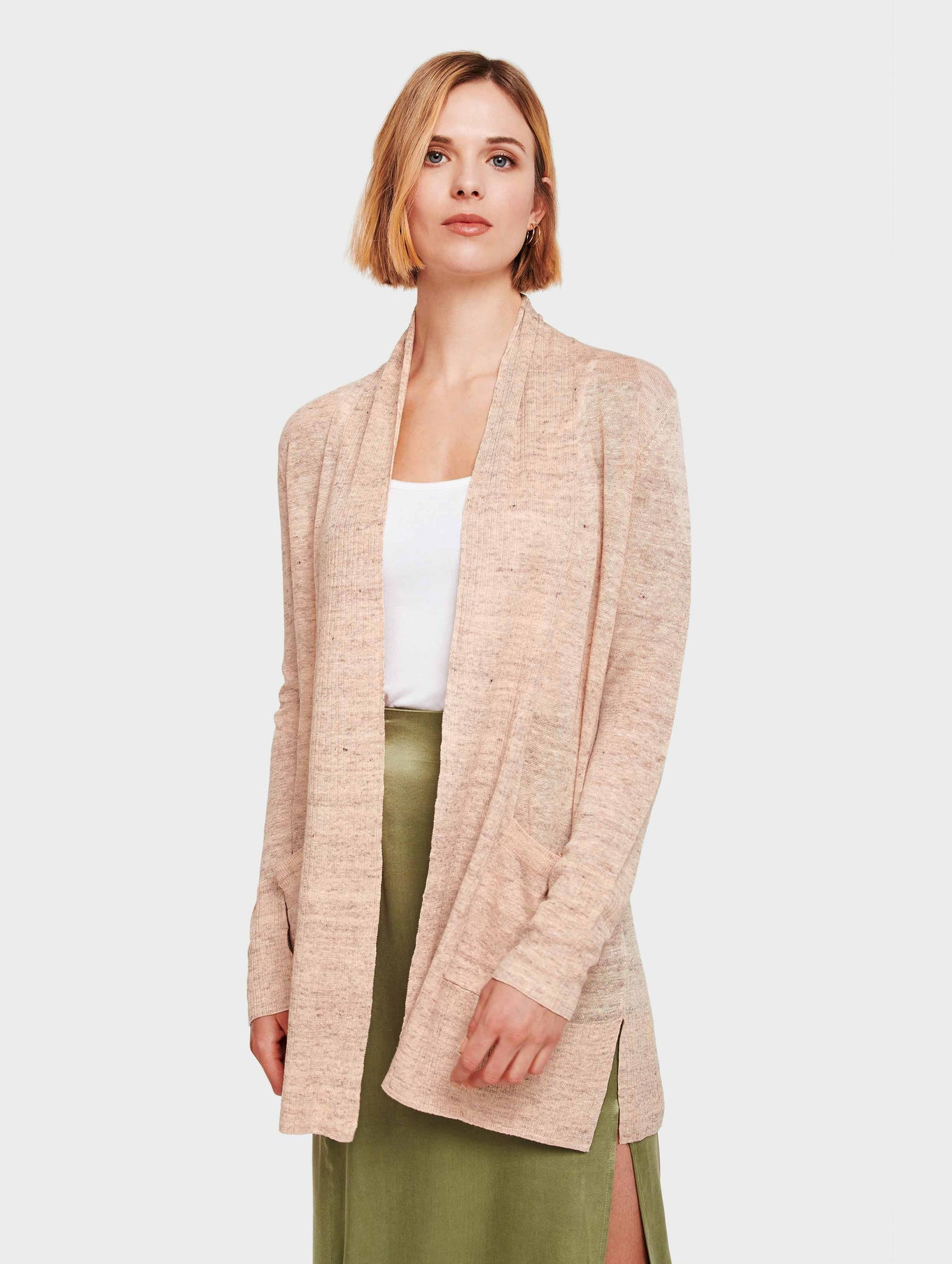 Linen Ribbed Placket Pocket Cardigan - Seashell Heather - Image 2