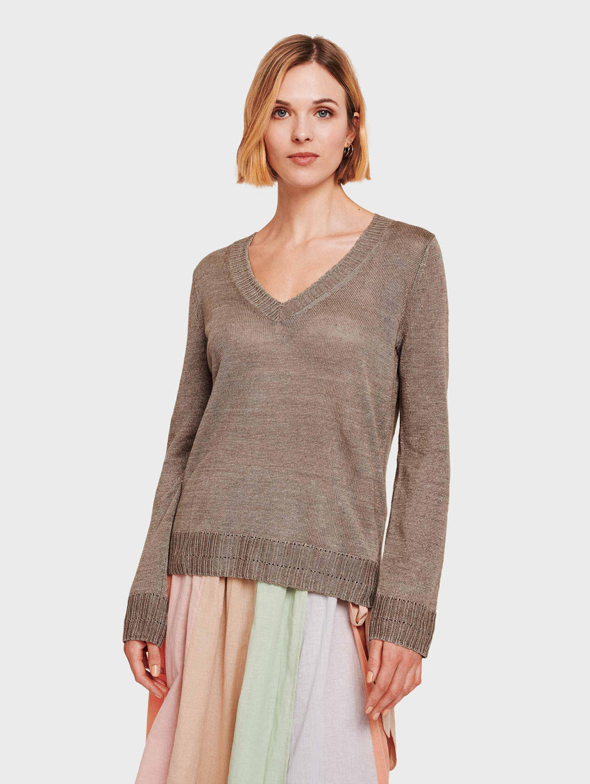 Linen Pointelle Rib V Neck - Coffee - Image 1