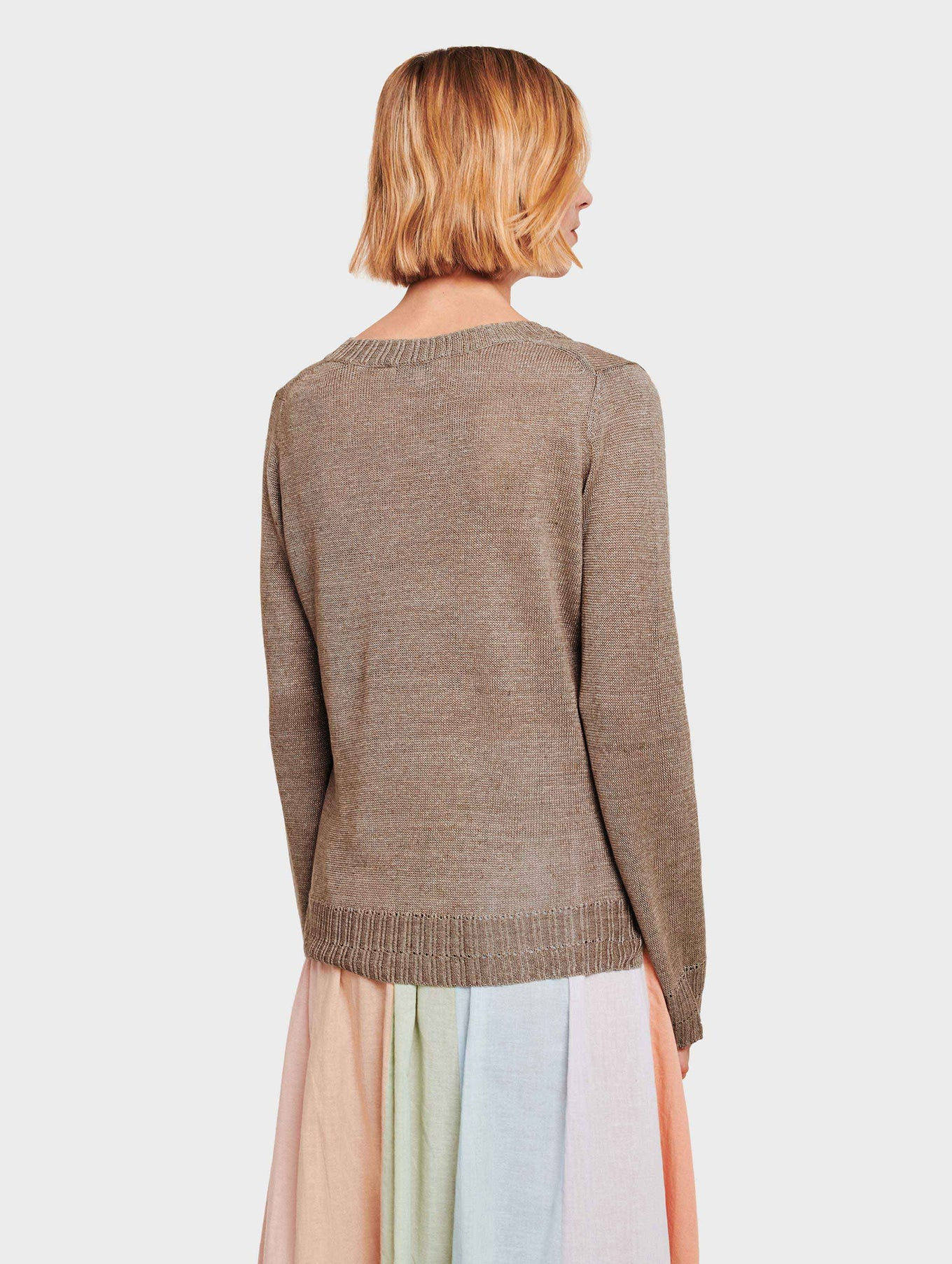 Linen Pointelle Rib V Neck - Coffee - Image 3