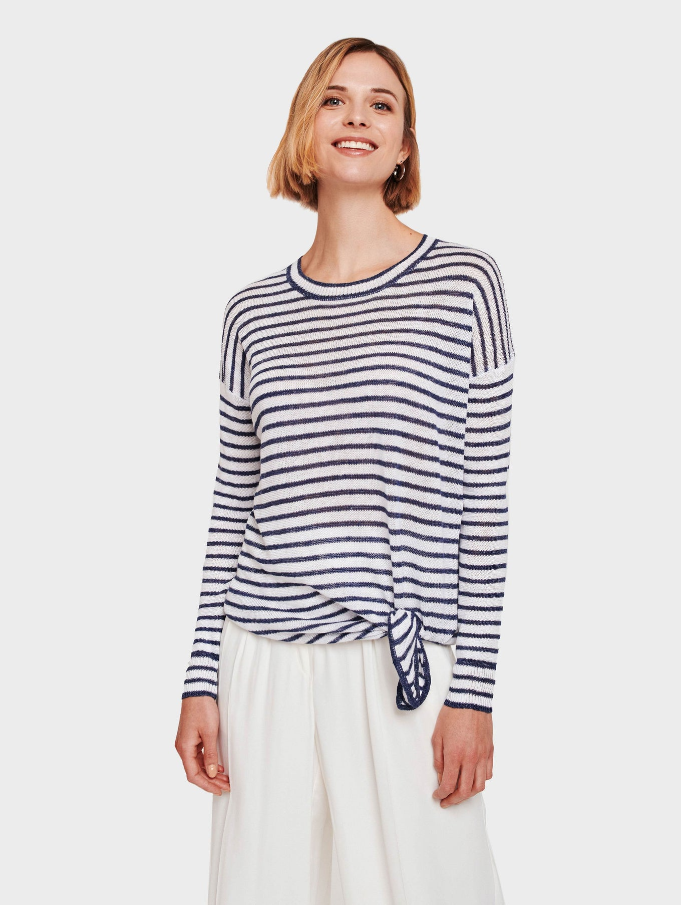 Linen Knotted Stripe Crewneck - White/Denim - Image 1