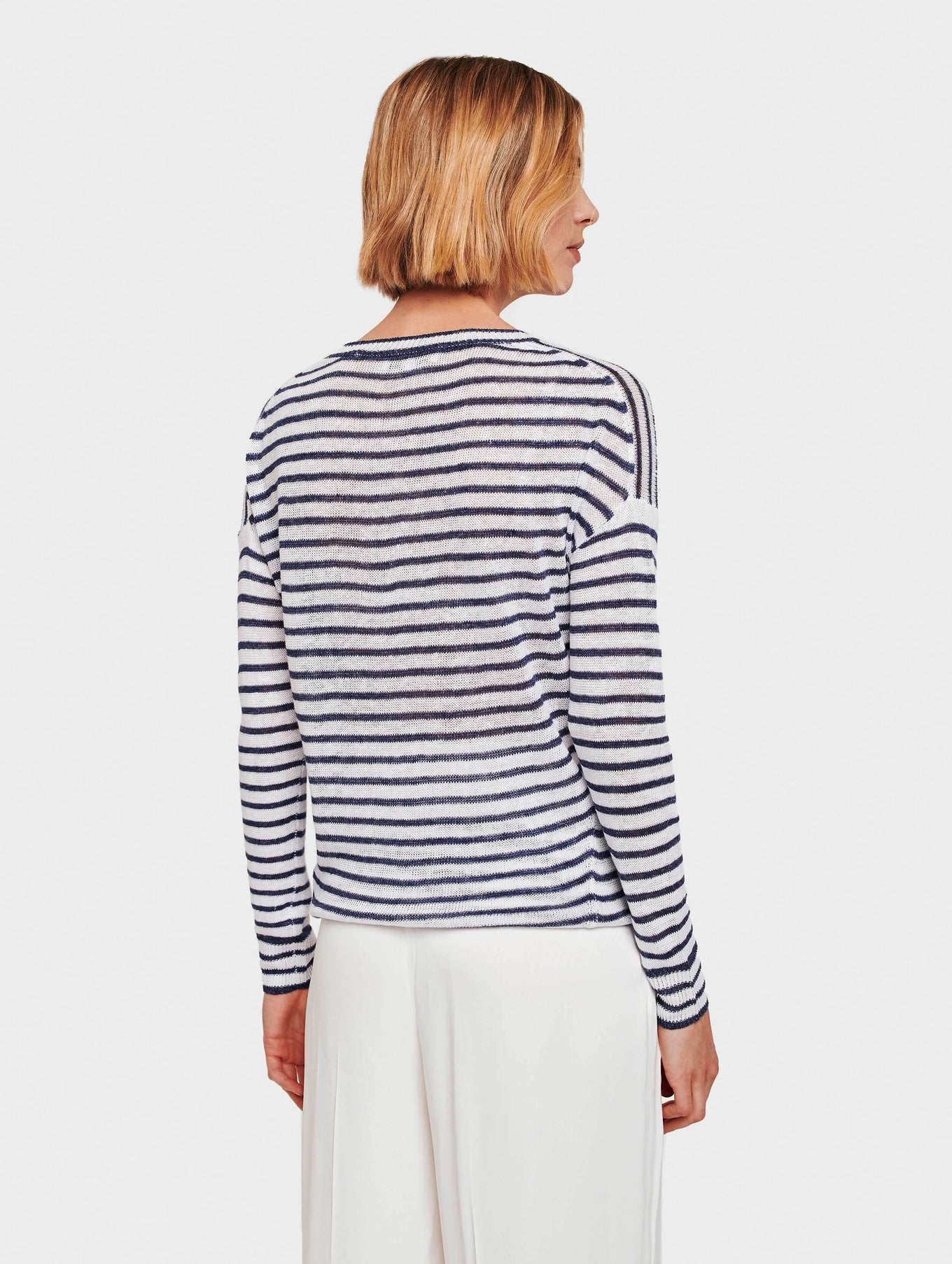 Linen Knotted Stripe Crewneck - White/Denim - Image 3