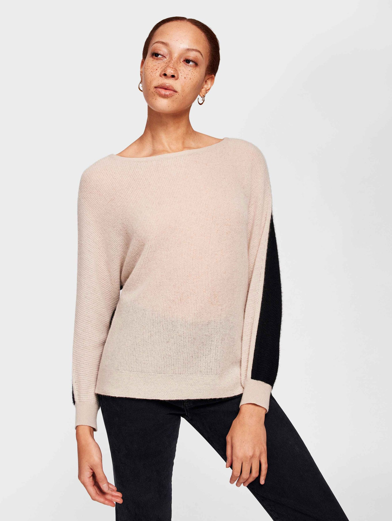 Cashmere Color Blocked Dolman Crewneck - Sandstone/Black - Image 2
