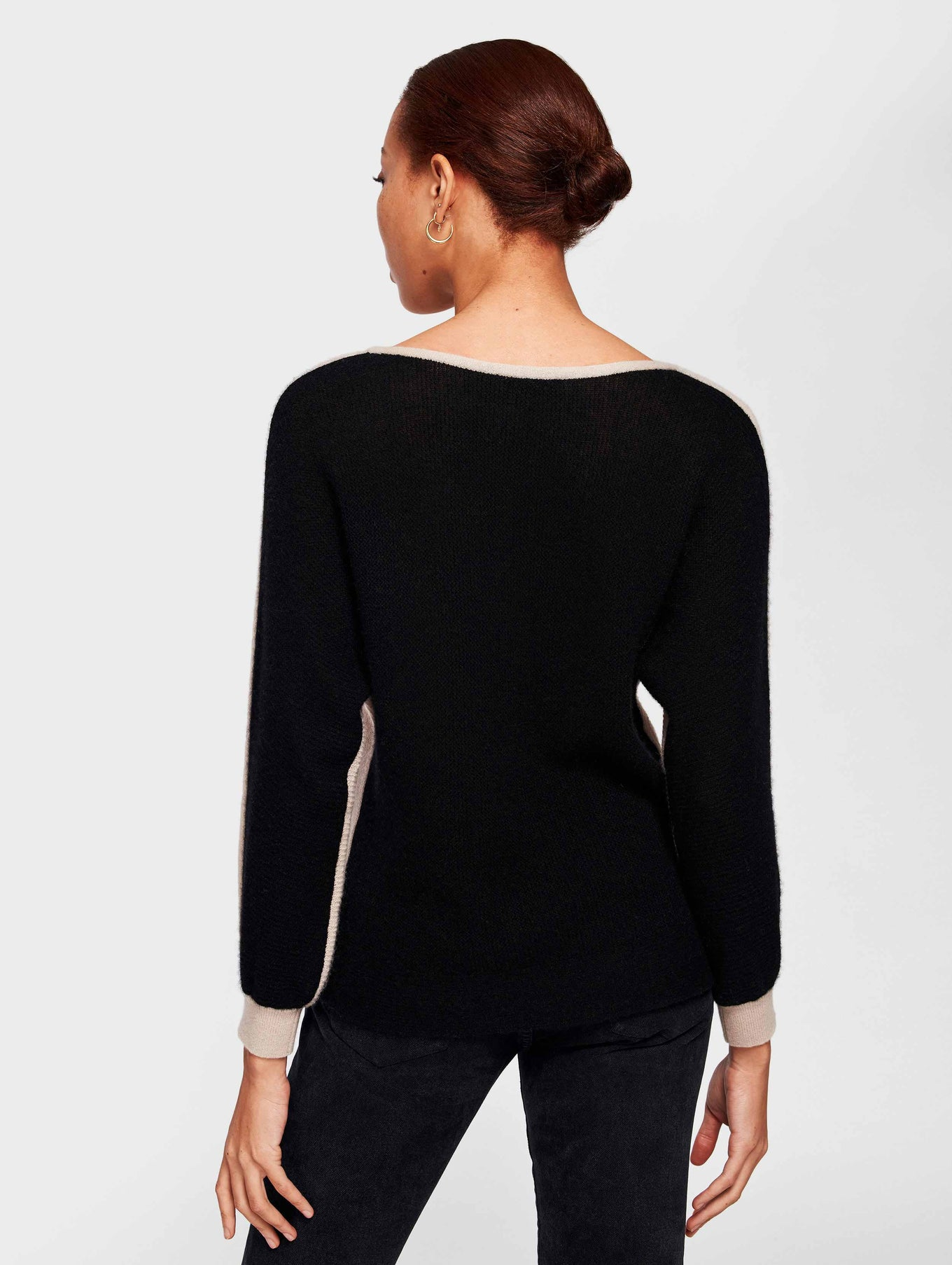 Cashmere Color Blocked Dolman Crewneck - Sandstone/Black - Image 3