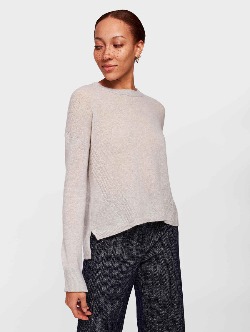 Cashmere Step Hem Crewneck - Ash Heather - Image 2