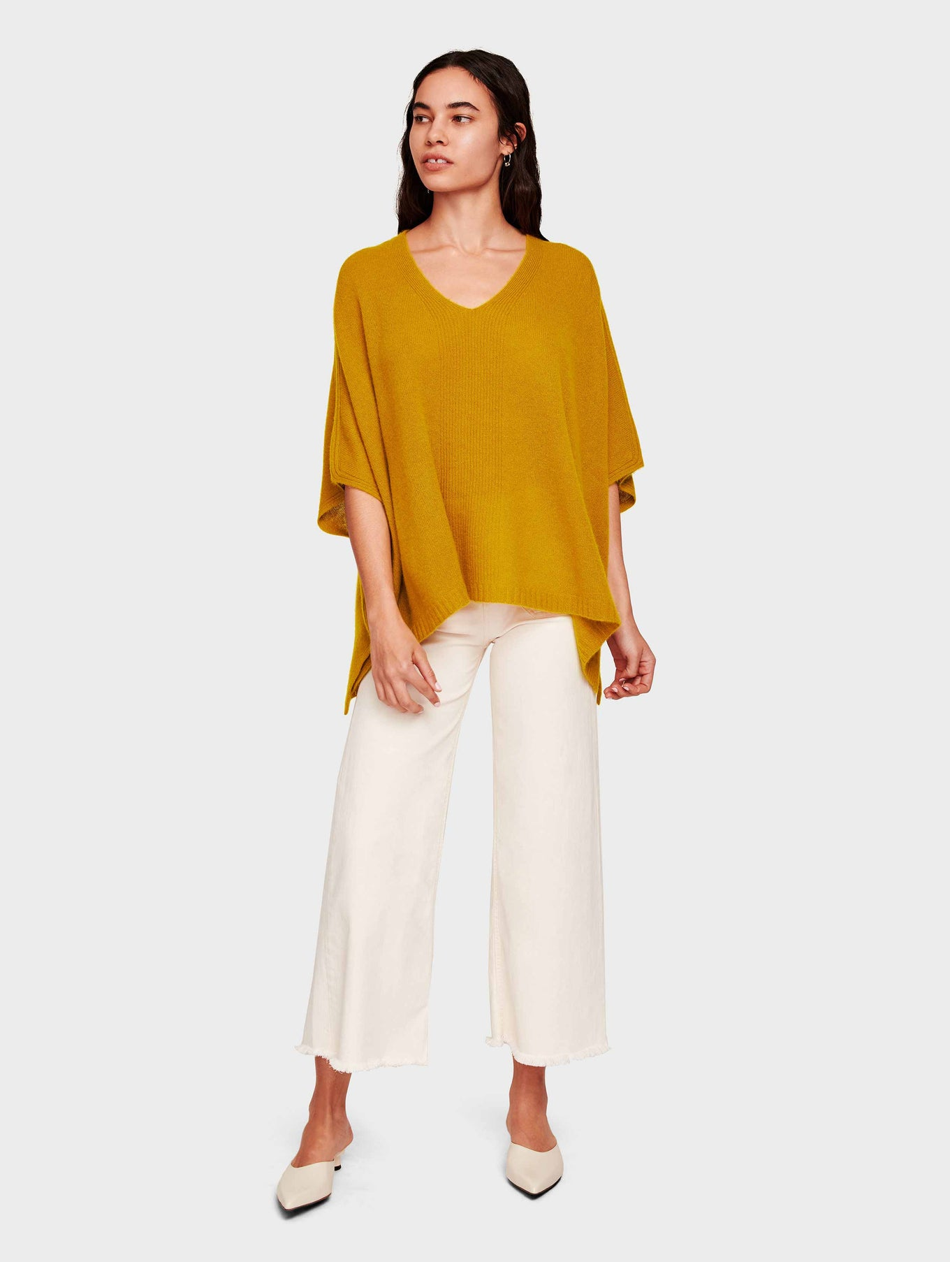 Cashmere V Neck Poncho - Antique Gold - Image 2
