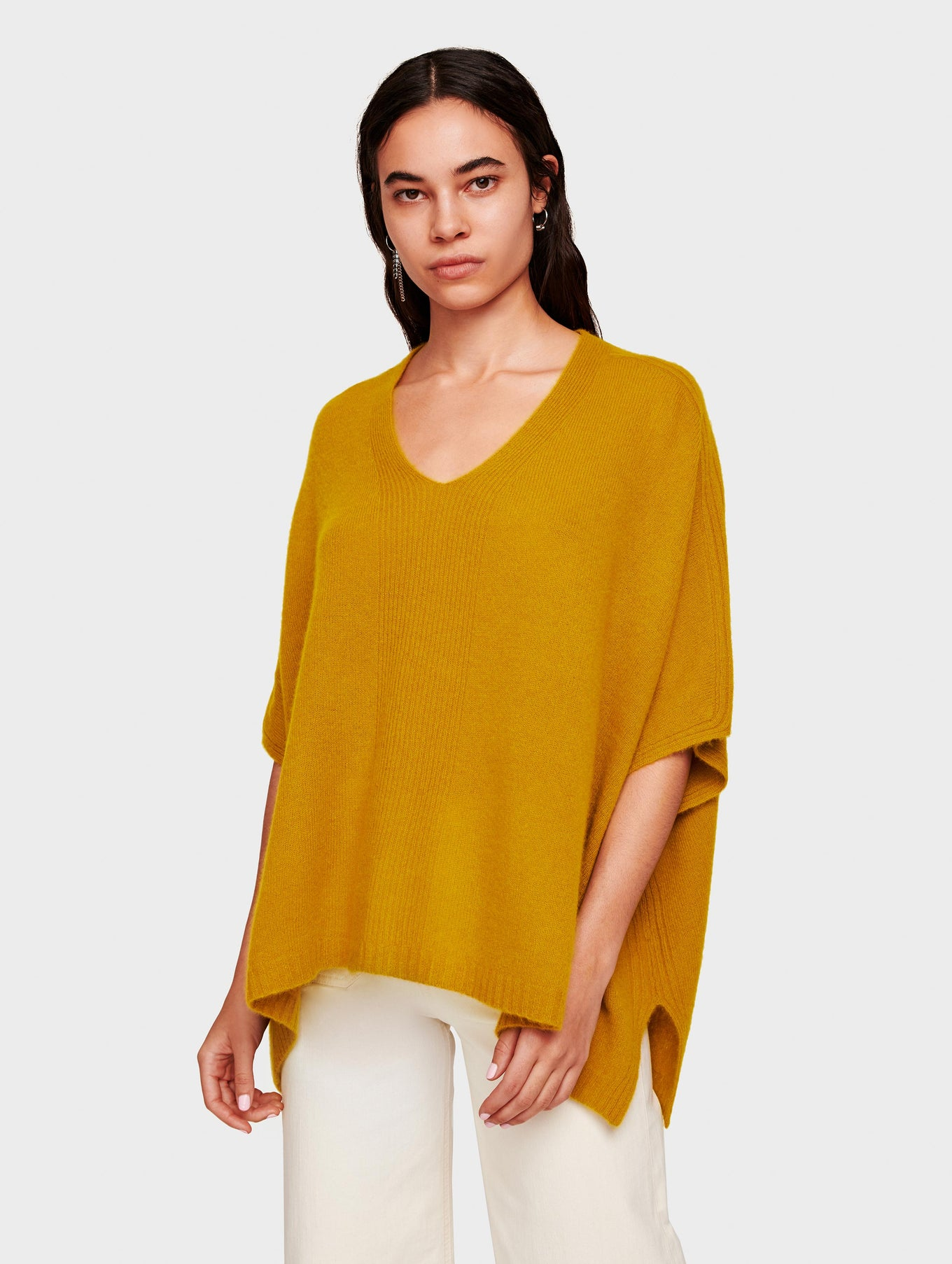 Cashmere V Neck Poncho - Antique Gold - Image 1