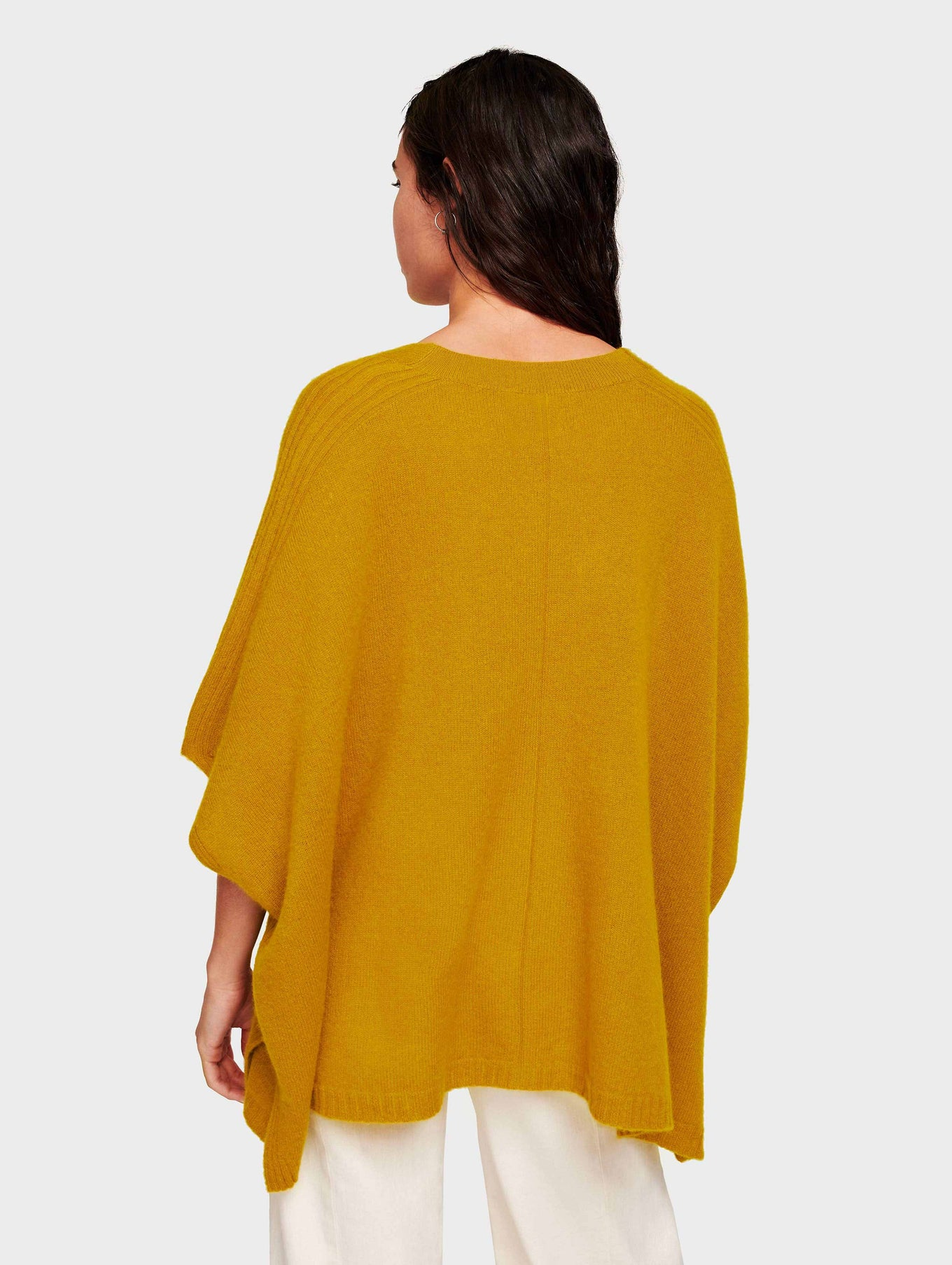 Cashmere V Neck Poncho - Antique Gold - Image 3