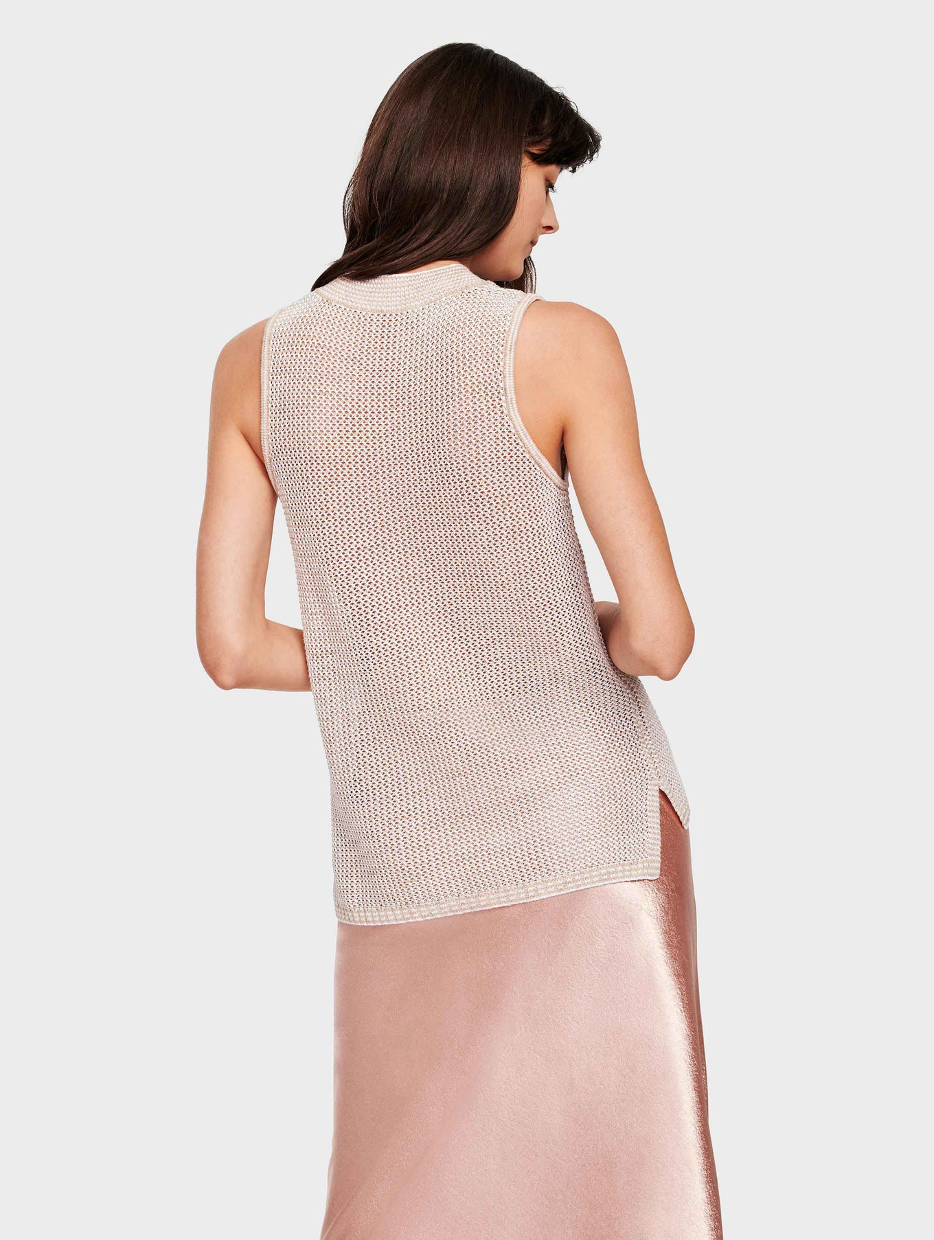 Lightweight Cotton Mockneck Knit Tank - Bamboo/White - Image 3