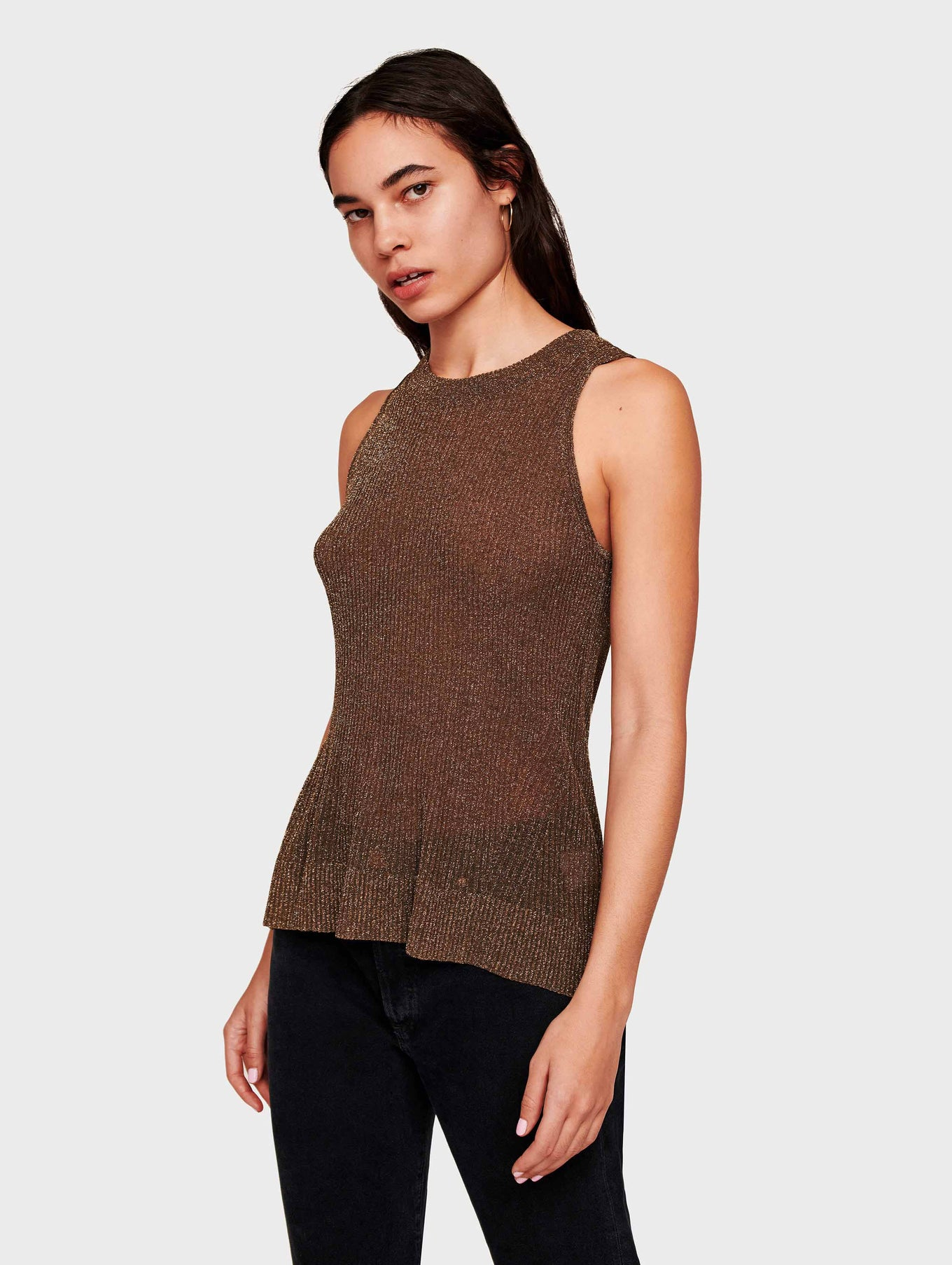 Italian Summer Shine Ribbed Tank - Metallic Bronze - Image 1