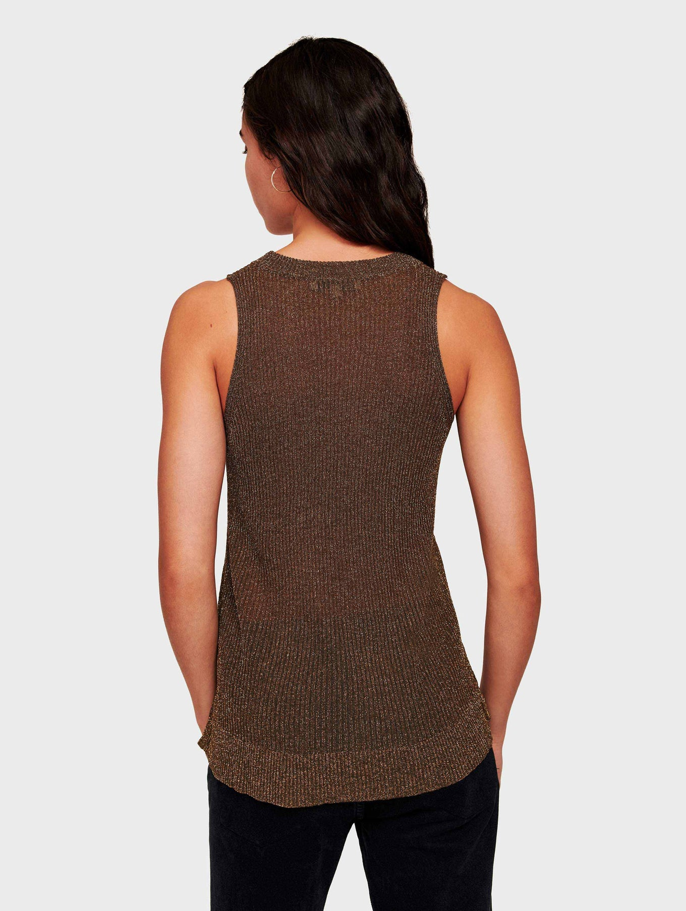 Italian Summer Shine Ribbed Tank - Metallic Bronze - Image 3