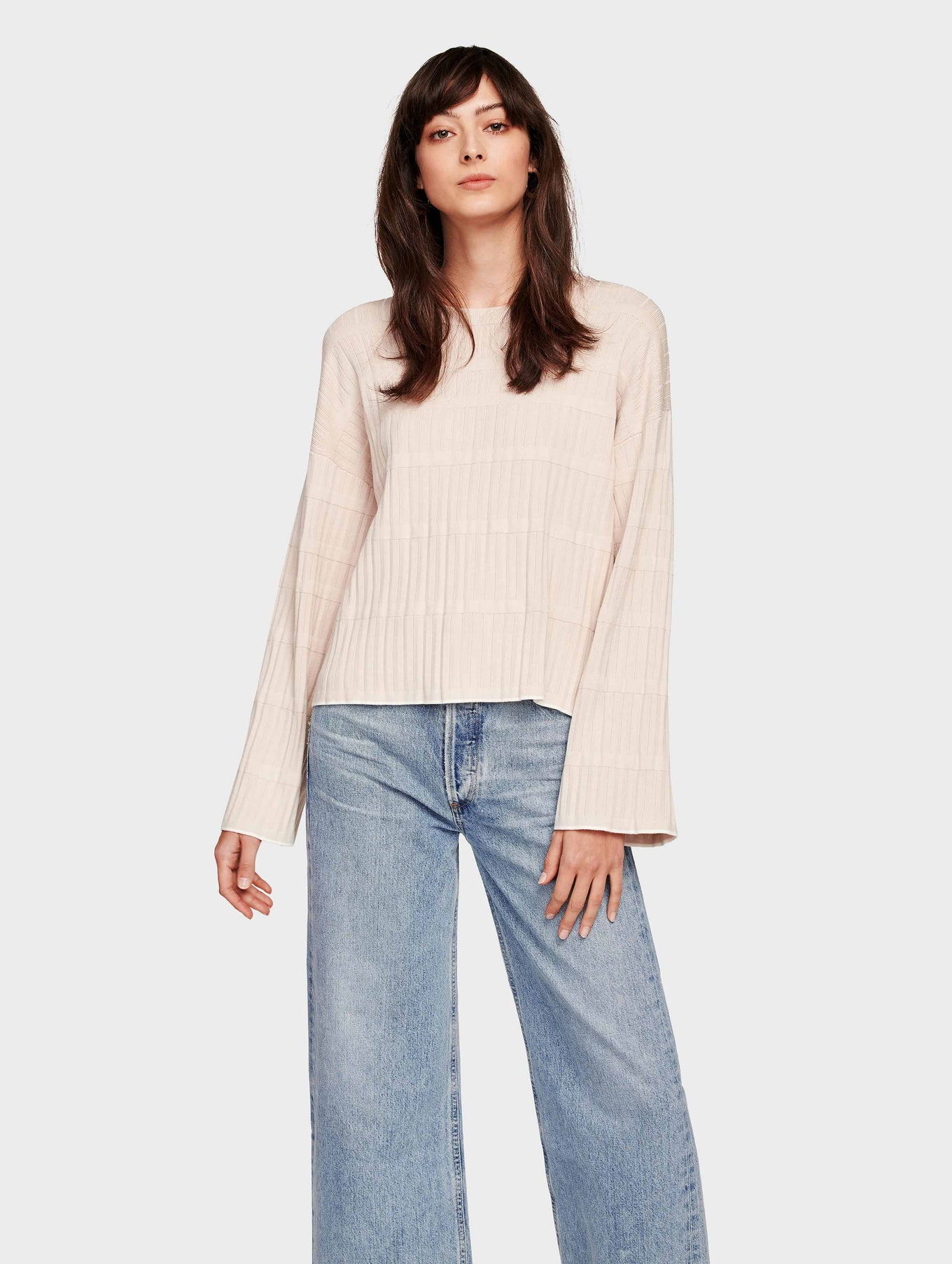 Fine Gauge Stretch Pleated Stitch Tipped Crewneck - Blush/Cream - Image 1