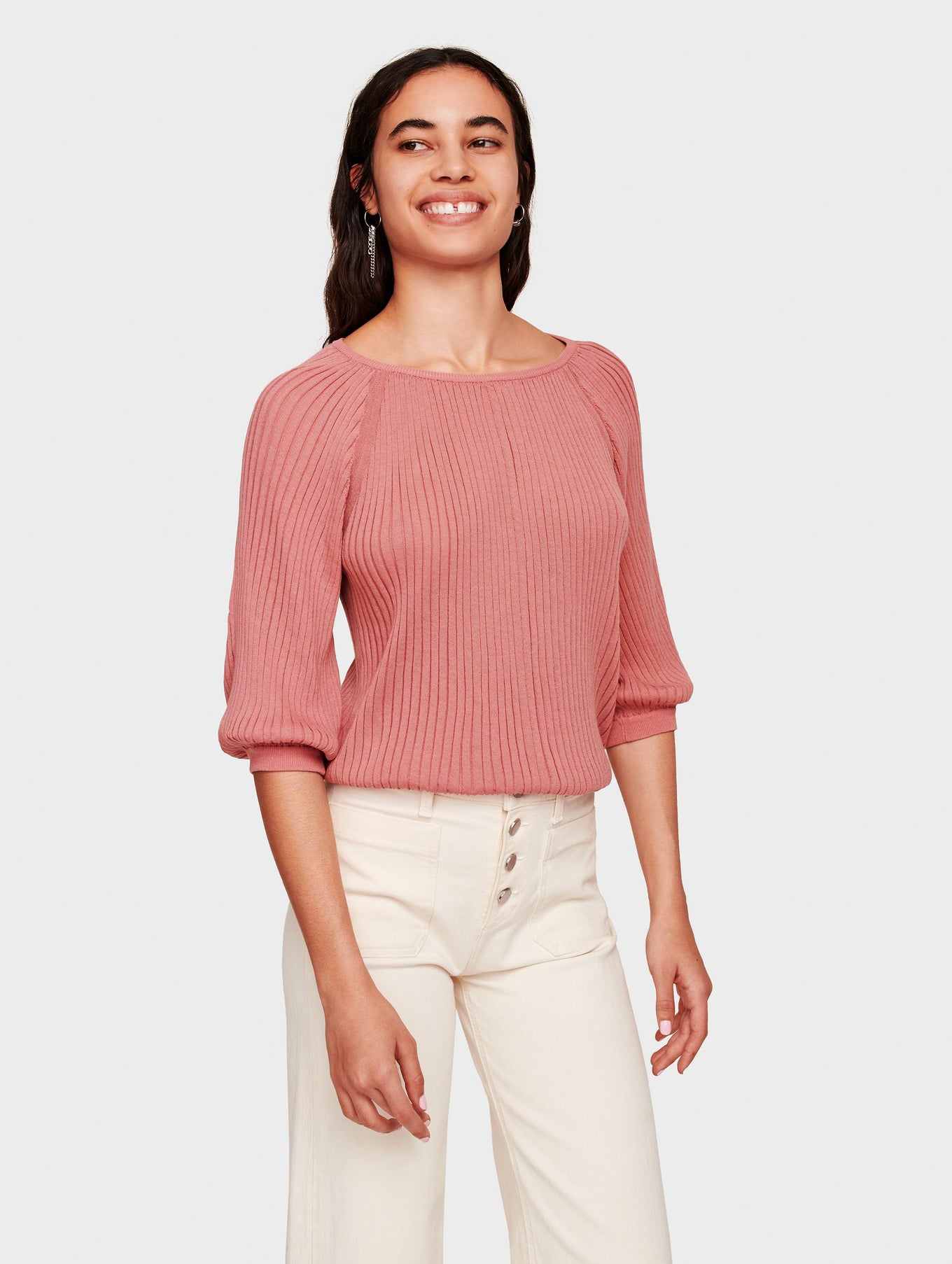 Tissue Weight Cotton Ribbed Balloon Sleeve Top - Terracotta Rose - Image 2