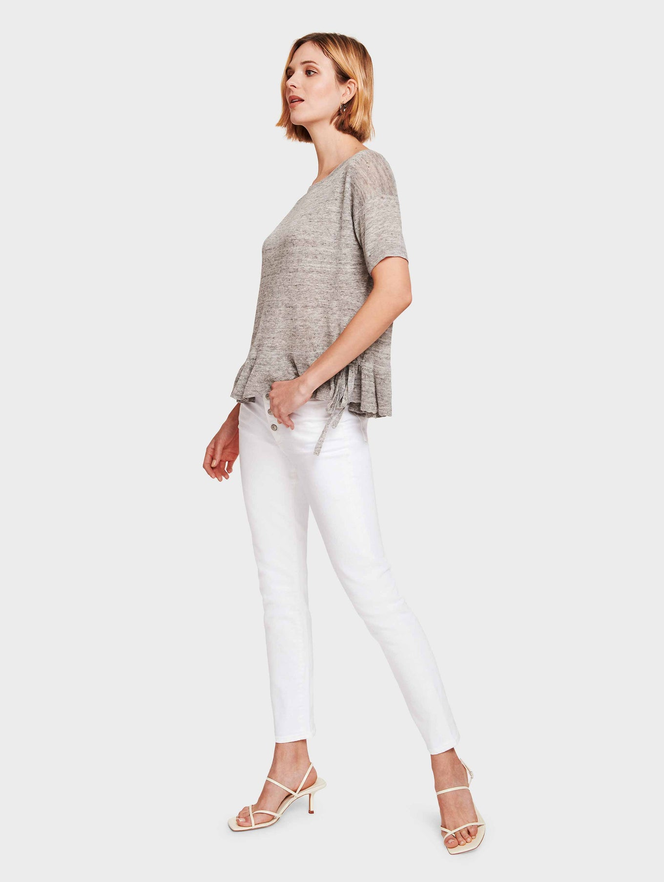 Linen Drawcord Ruffle Tee - Shadow Heather - Image 2