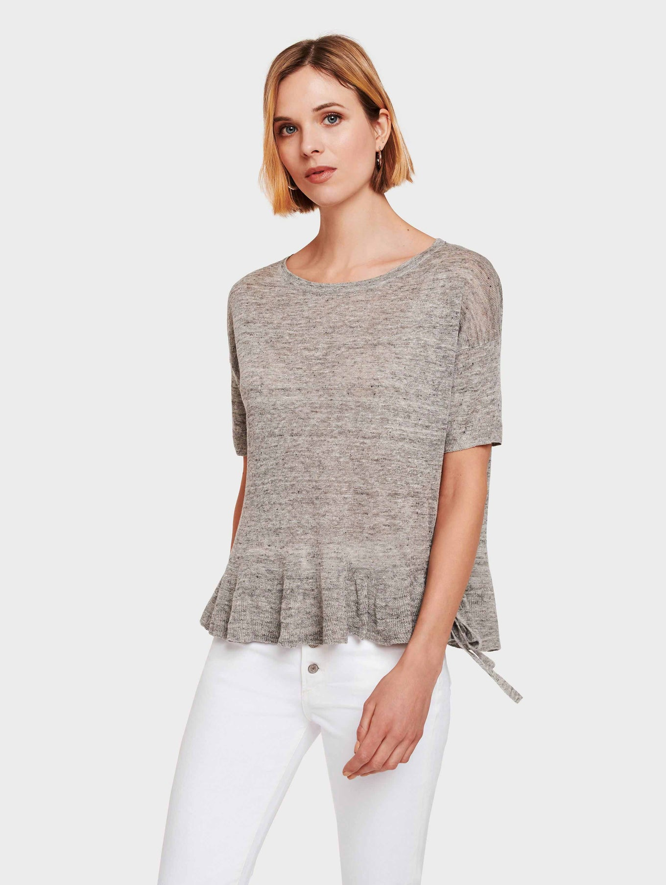 Linen Drawcord Ruffle Tee - Shadow Heather - Image 1