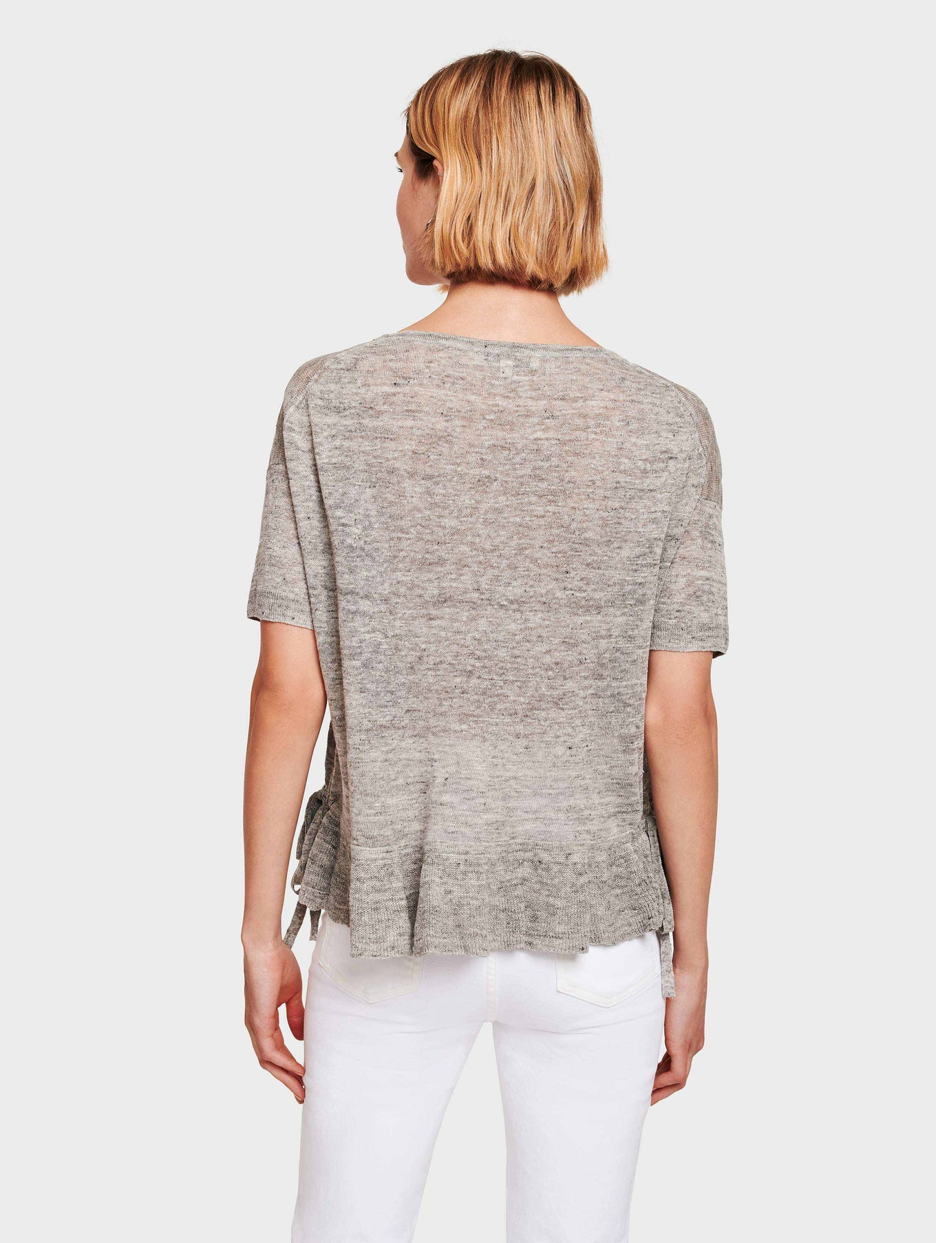 Linen Drawcord Ruffle Tee - Shadow Heather - Image 3