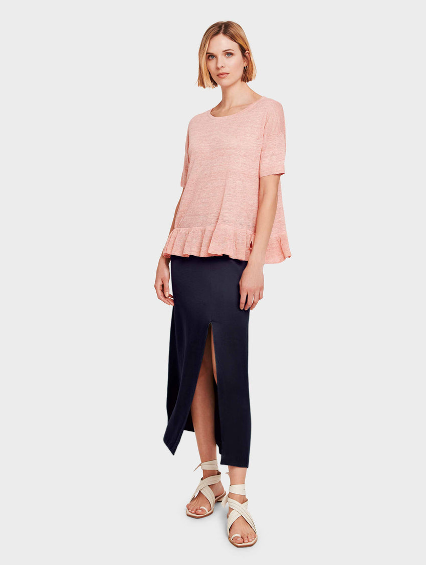 Linen Drawcord Ruffle Tee - Sorbet Heather - Image 1