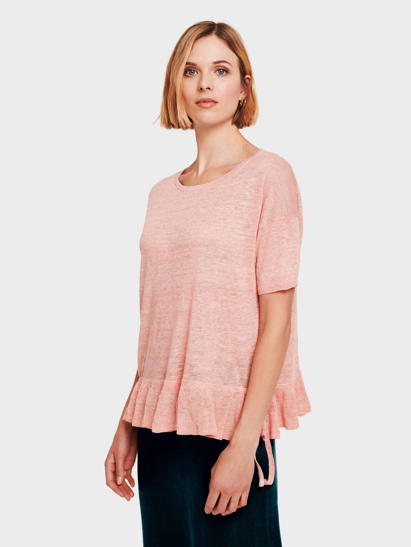 Linen Drawcord Ruffle Tee - Sorbet Heather - Image 2