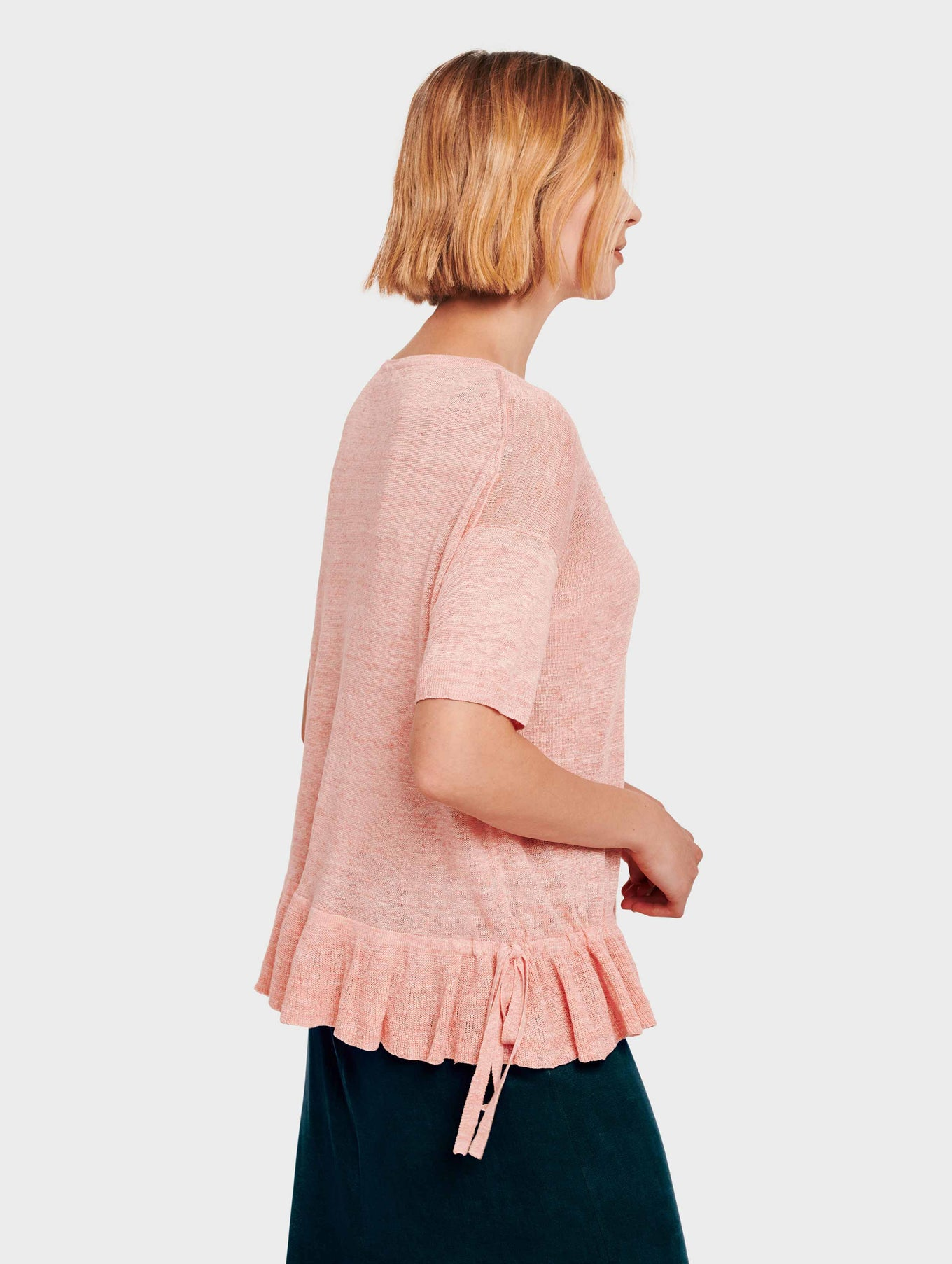 Linen Drawcord Ruffle Tee - Sorbet Heather - Image 3