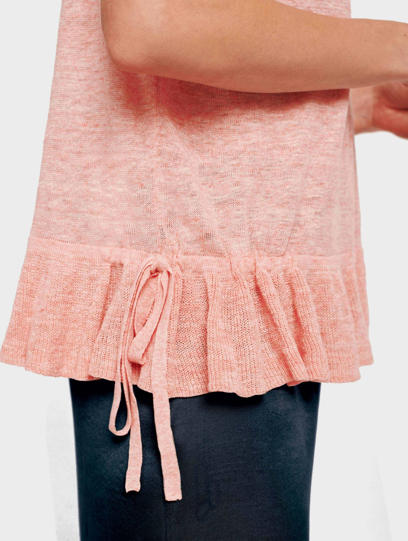 Linen Drawcord Ruffle Tee - Sorbet Heather - Image 4